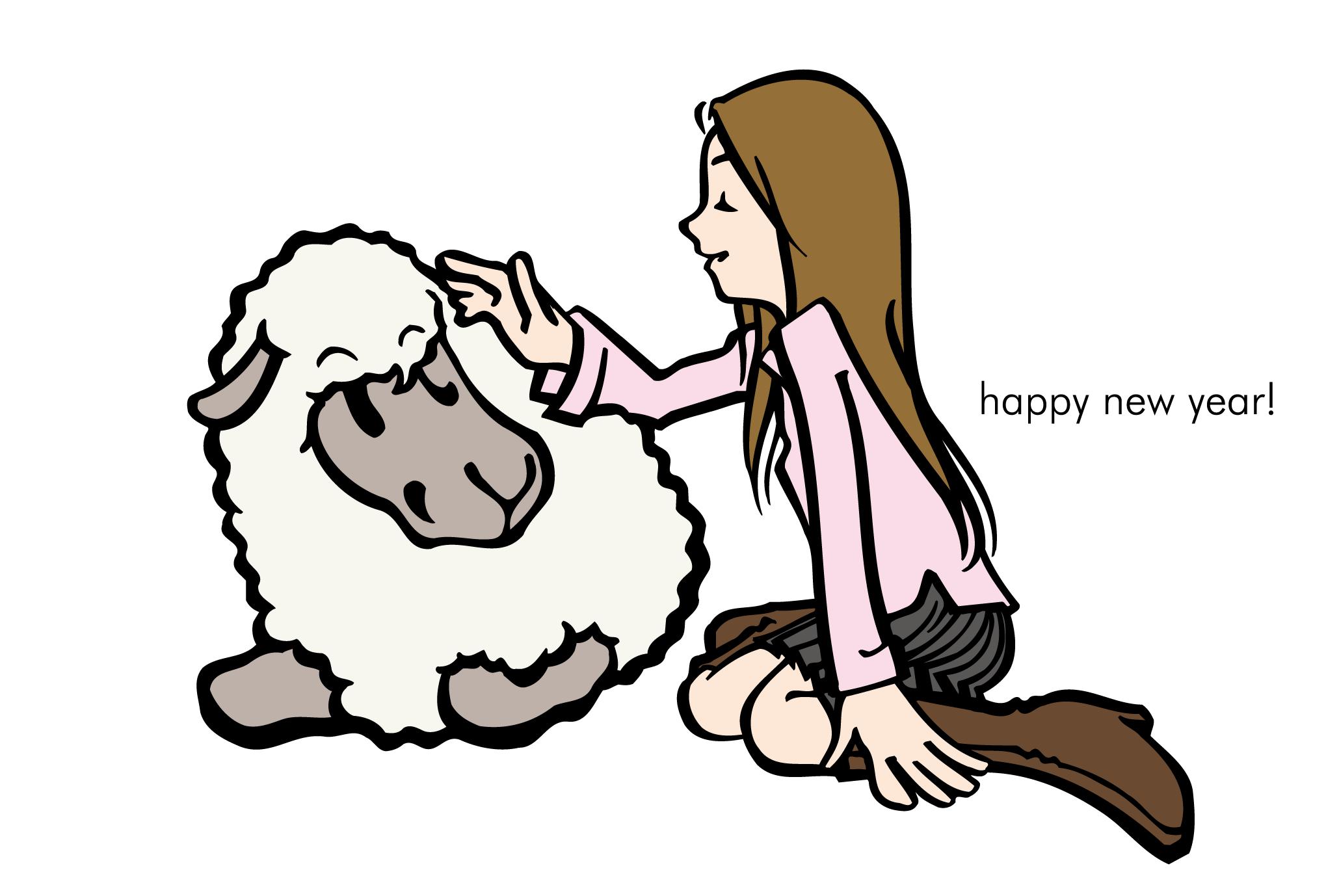 2003年賀状02:羊と女の子のダウンロード画像
