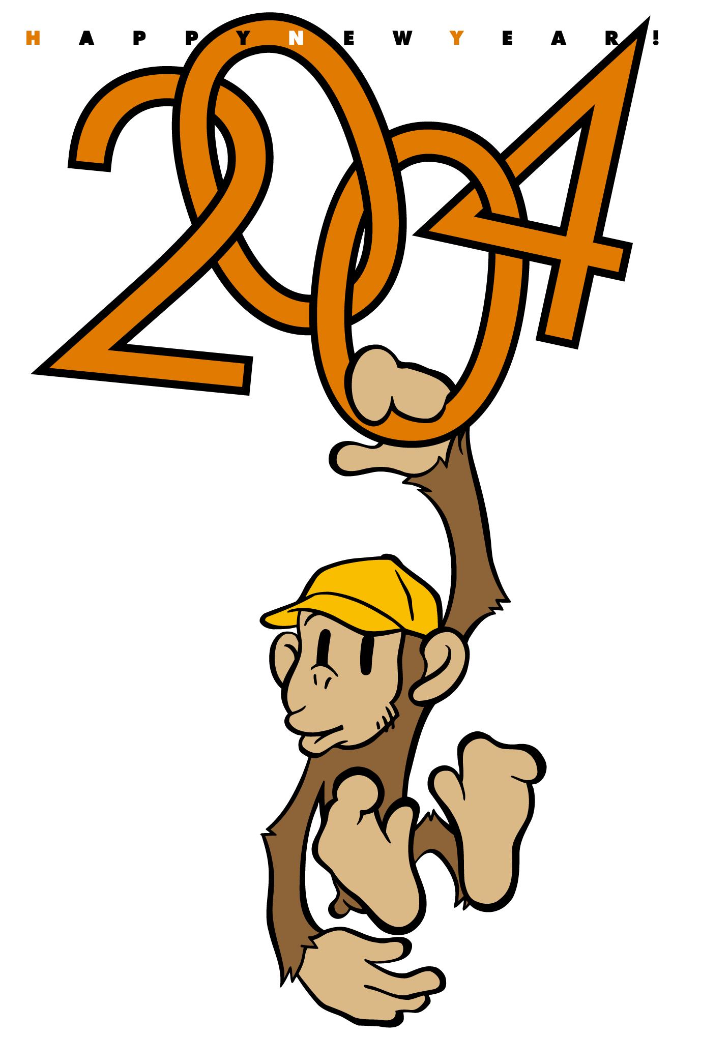 2004年賀状09:Hanging monkeyのダウンロード画像