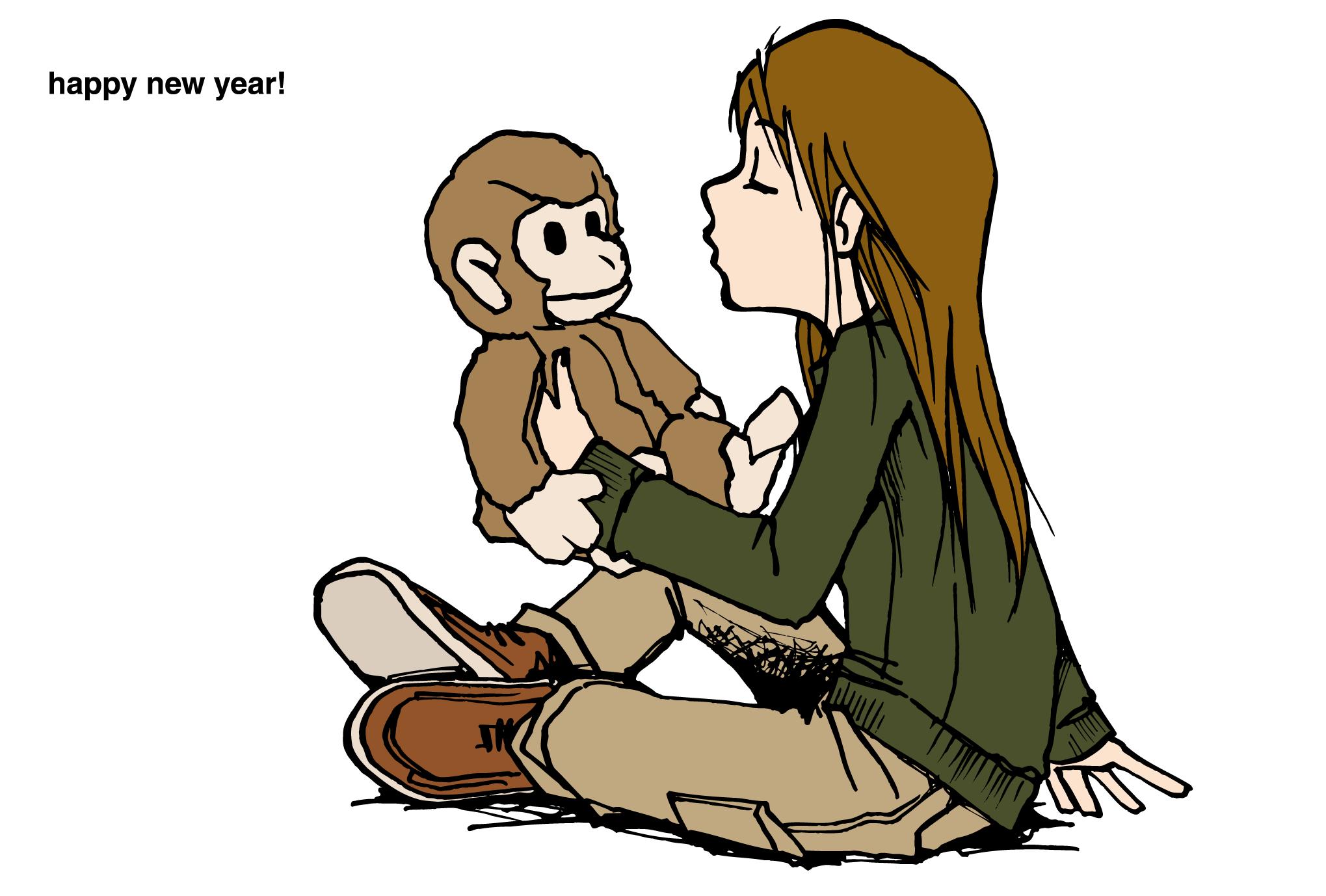2004年賀状23:猿と女の子のダウンロード画像