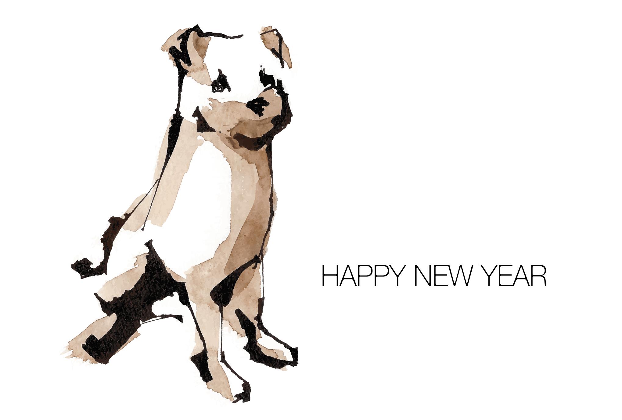 2006年賀状18:Watercolor dog / 1のダウンロード画像