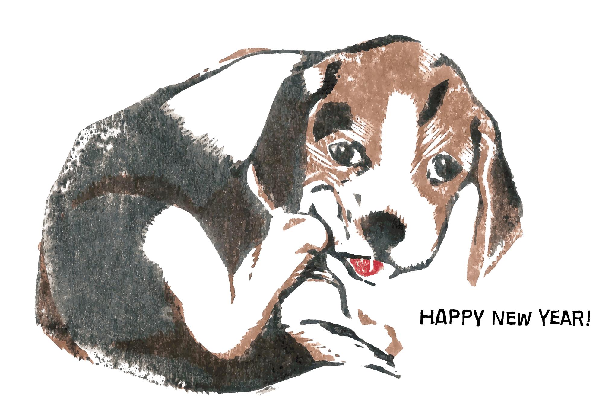 2006年賀状21:Beagle woodblock printのダウンロード画像
