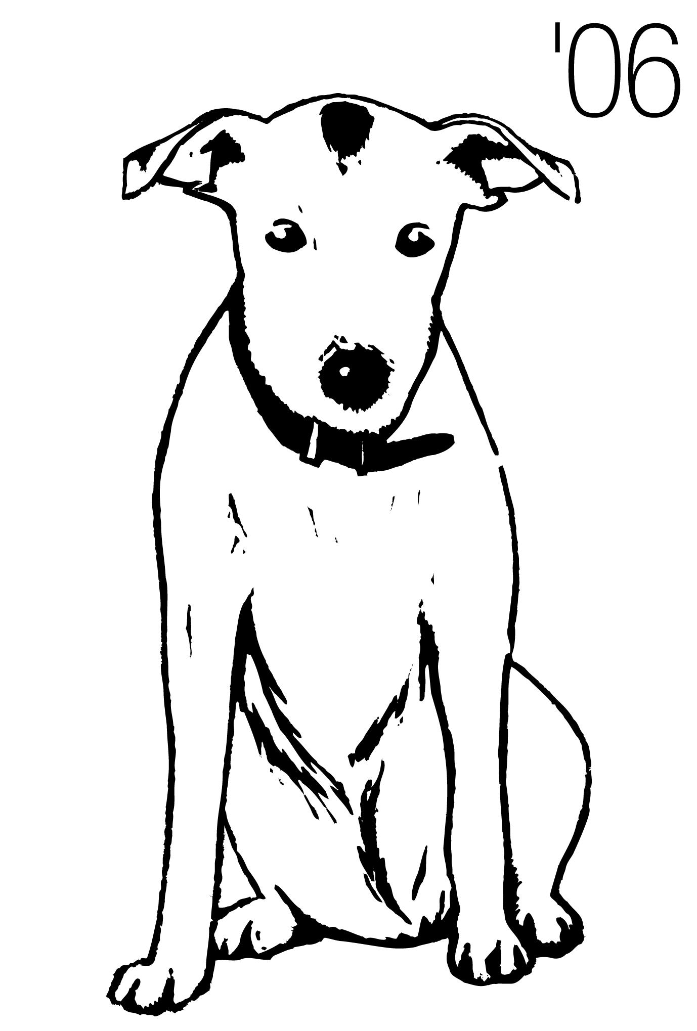 2006年賀状30:Dog woodblock printのダウンロード画像