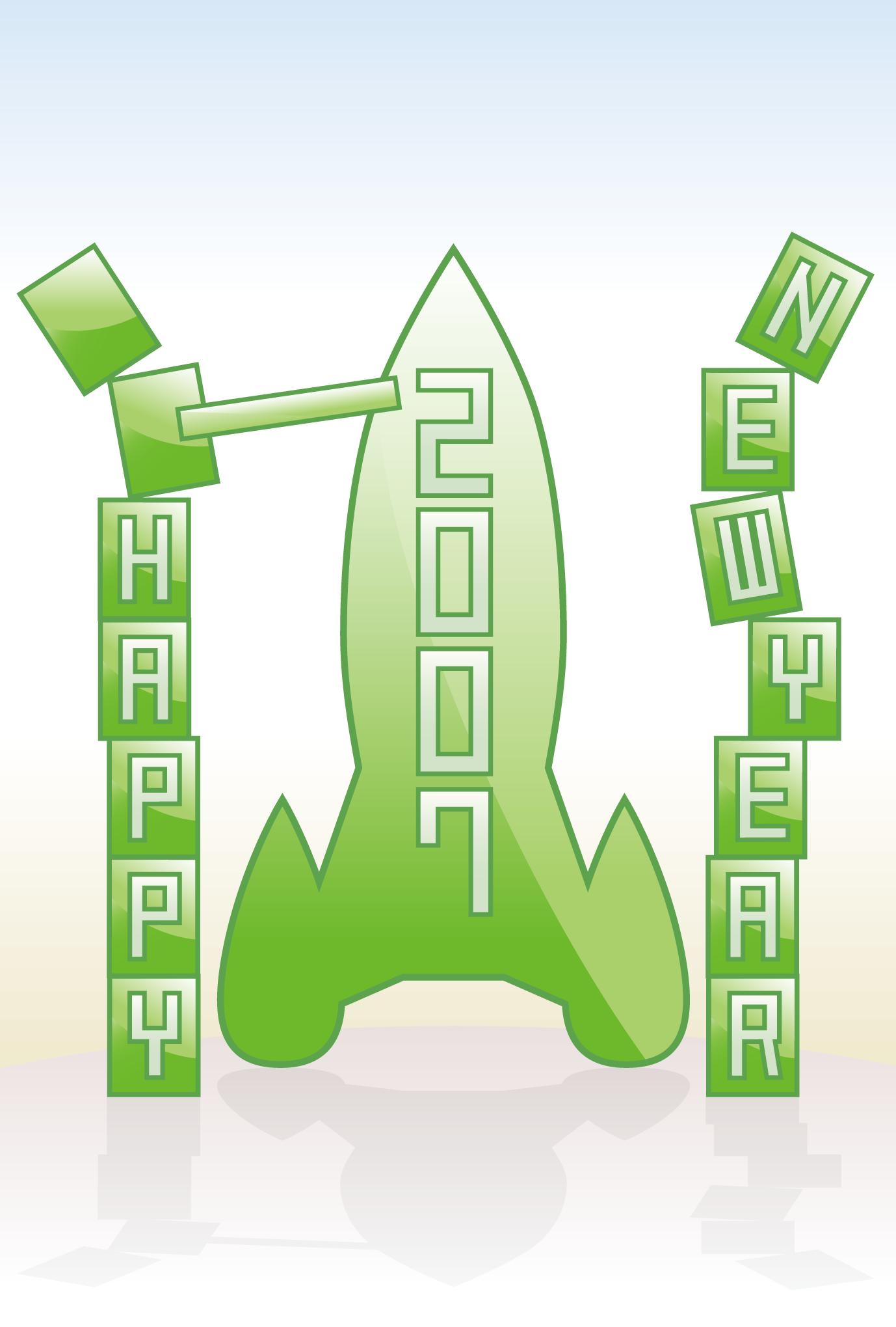 2007年賀状01:New year rocketのダウンロード画像