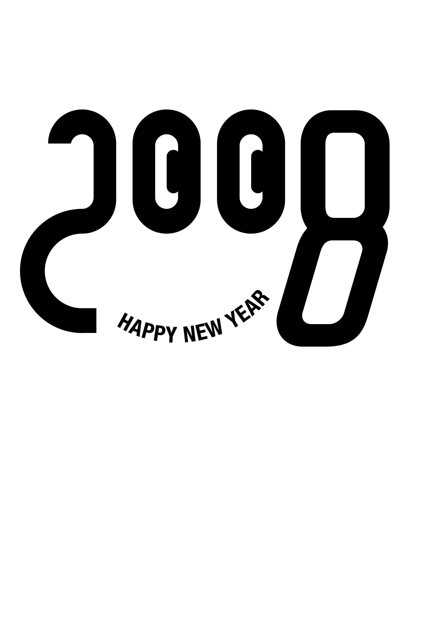 2008年賀状25:2008 FACEのダウンロード画像