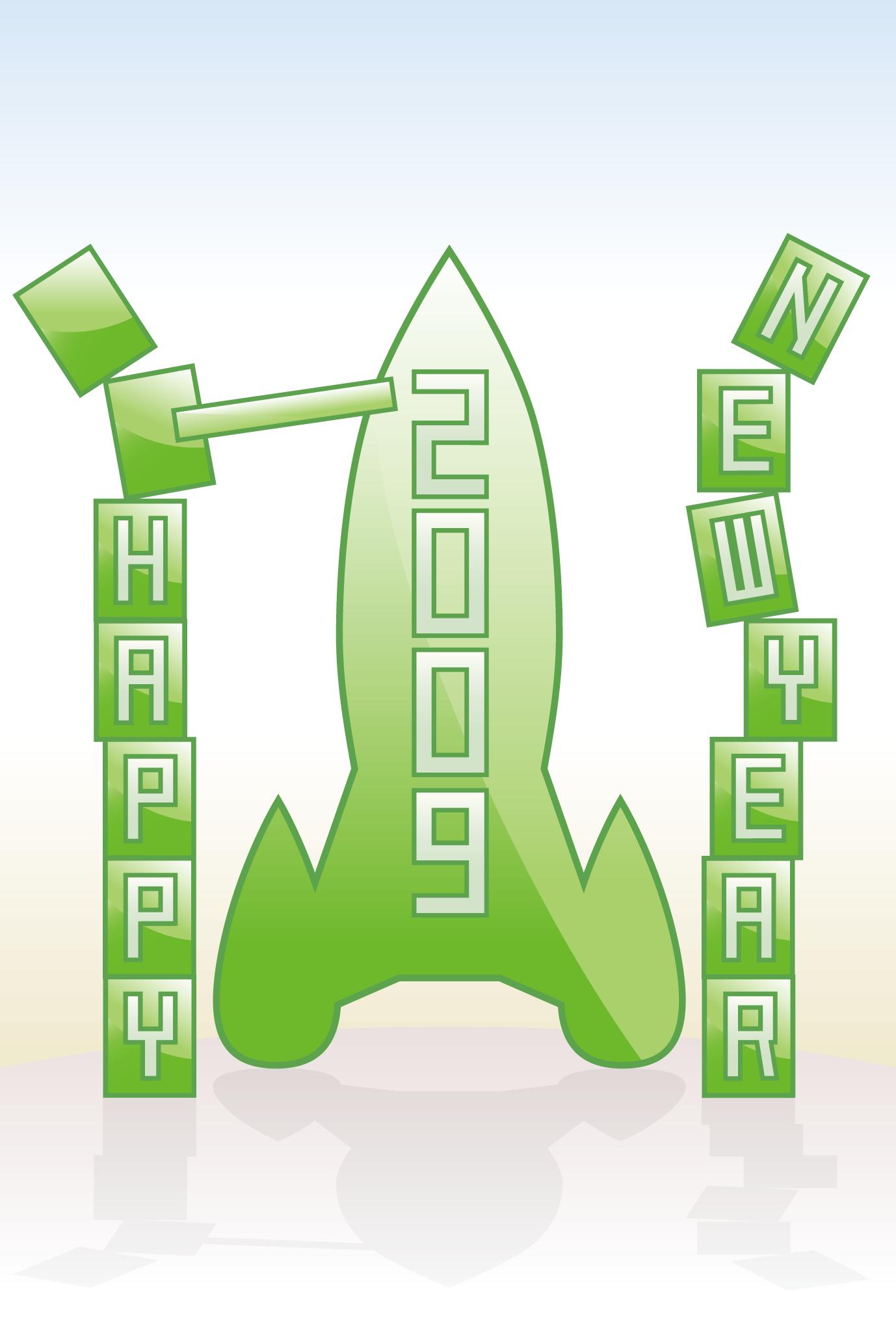 2009年賀状01:New year rocket / 1のダウンロード画像