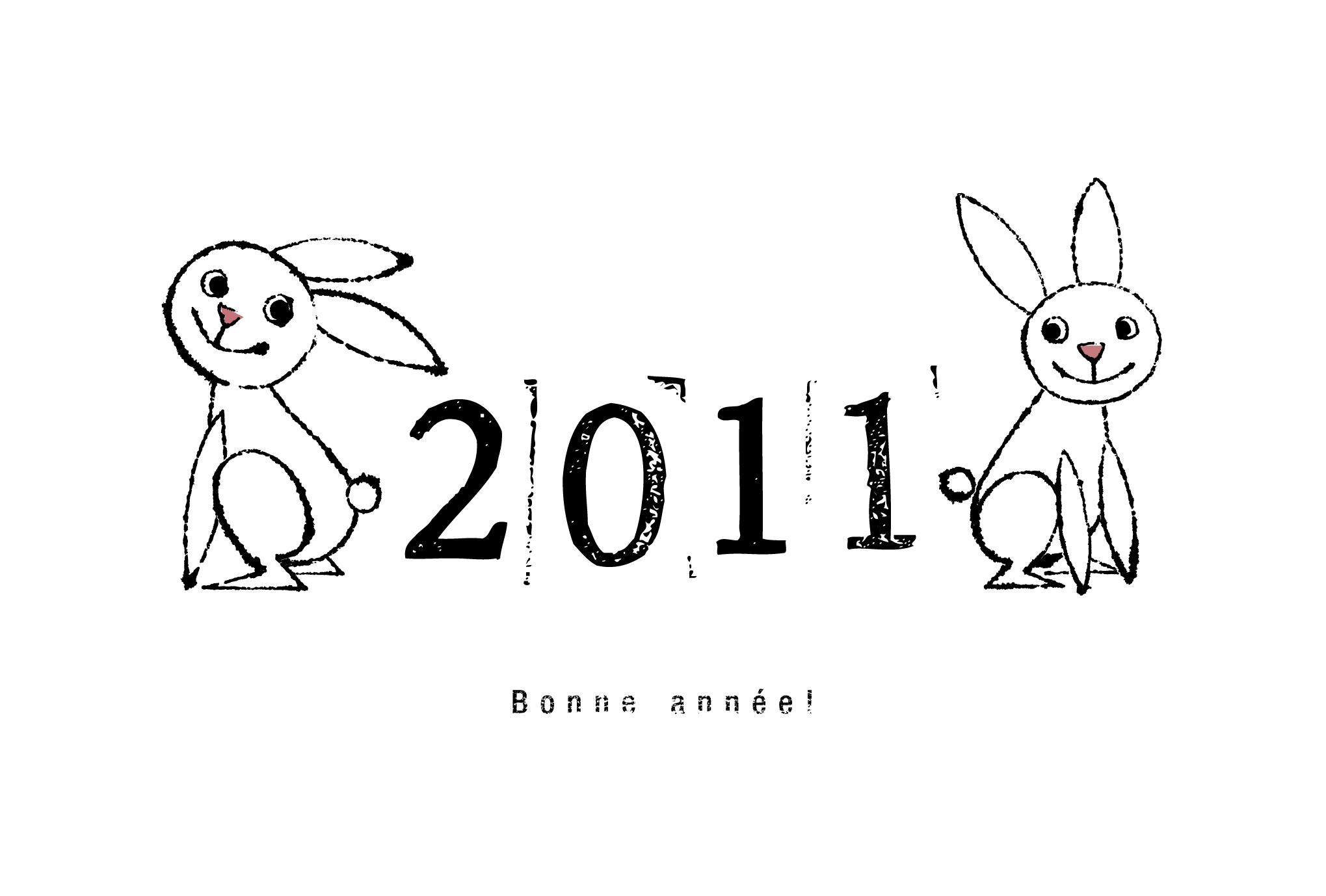 2011年賀状27:Two rabbit 2011のダウンロード画像