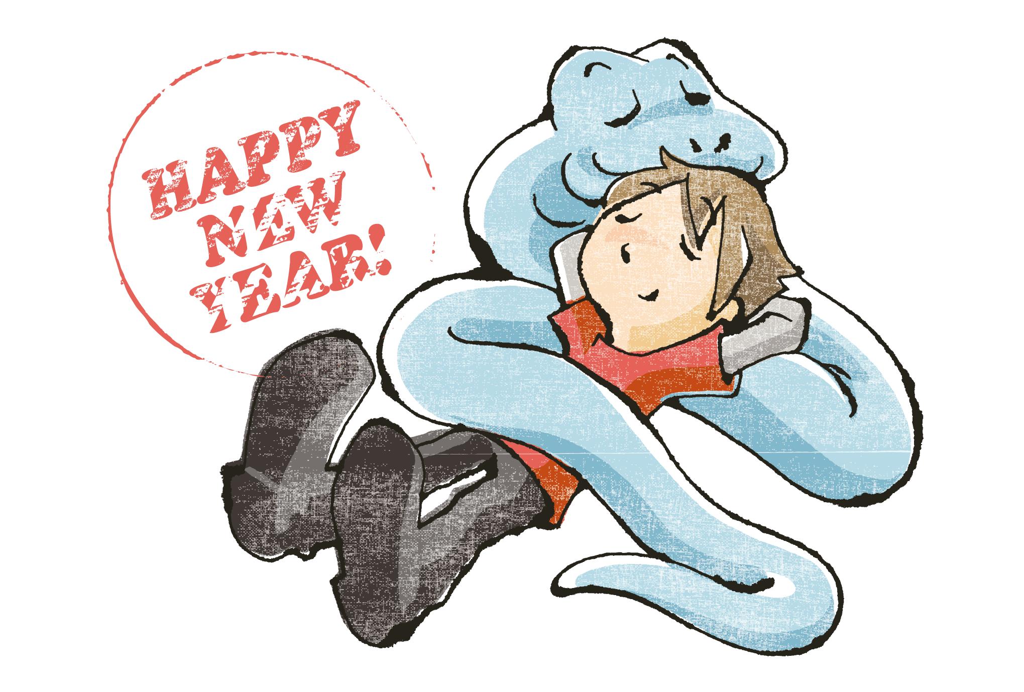 2013年賀状09-1:Sleeping Snake / redrawのダウンロード画像