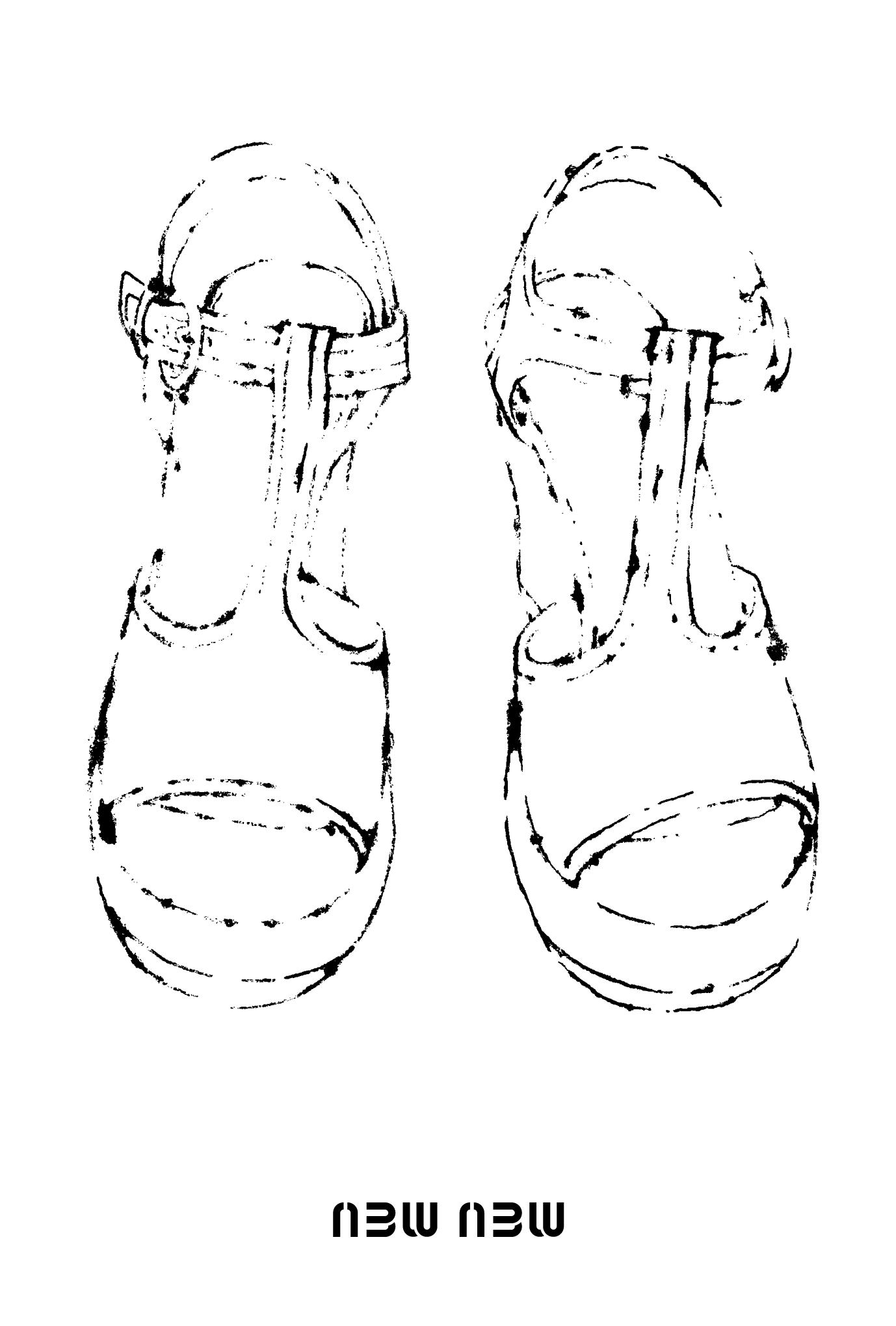 2013年賀状13-4:new new / line drawingのダウンロード画像