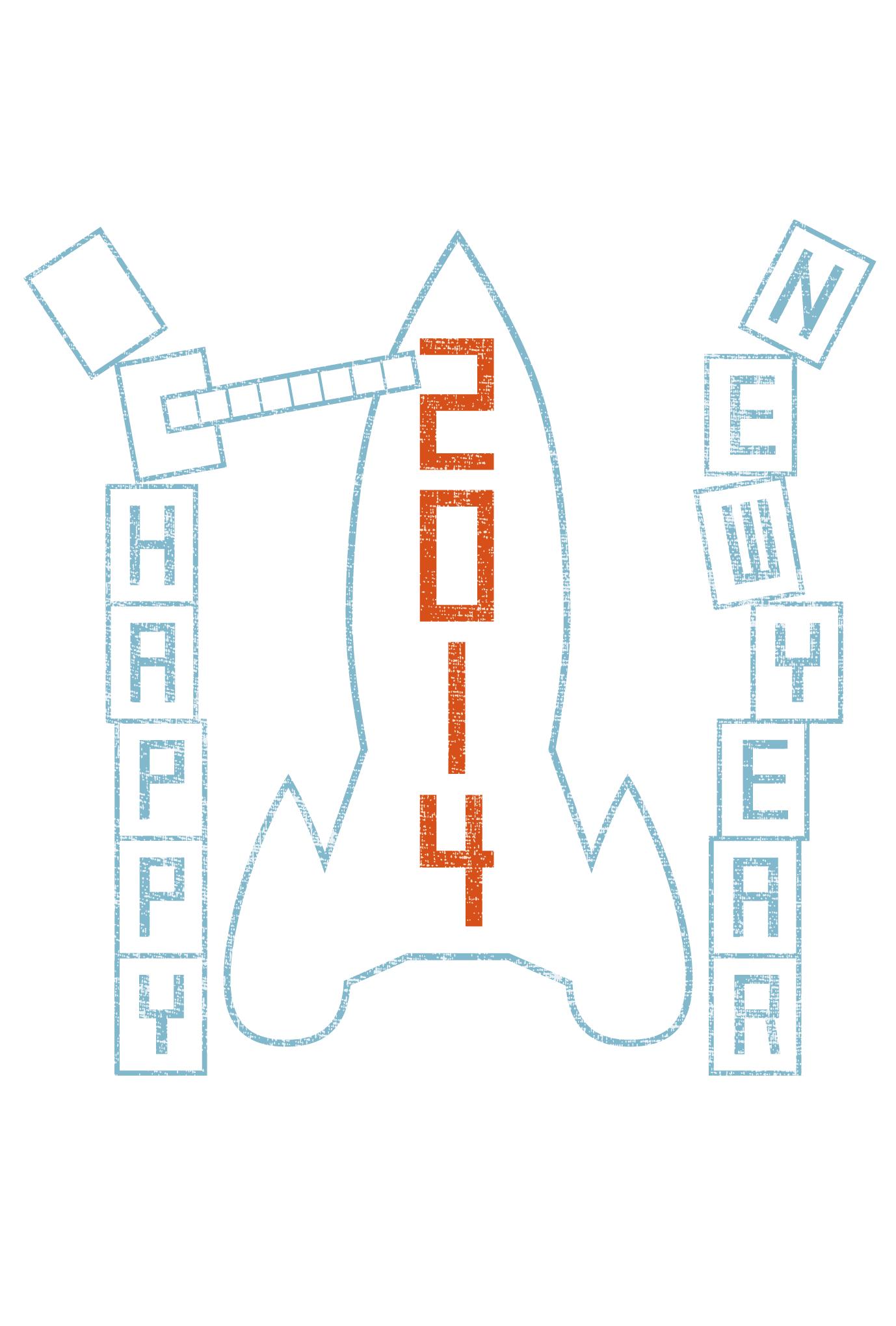 2014年賀状02-1:New year rocket / 1のダウンロード画像