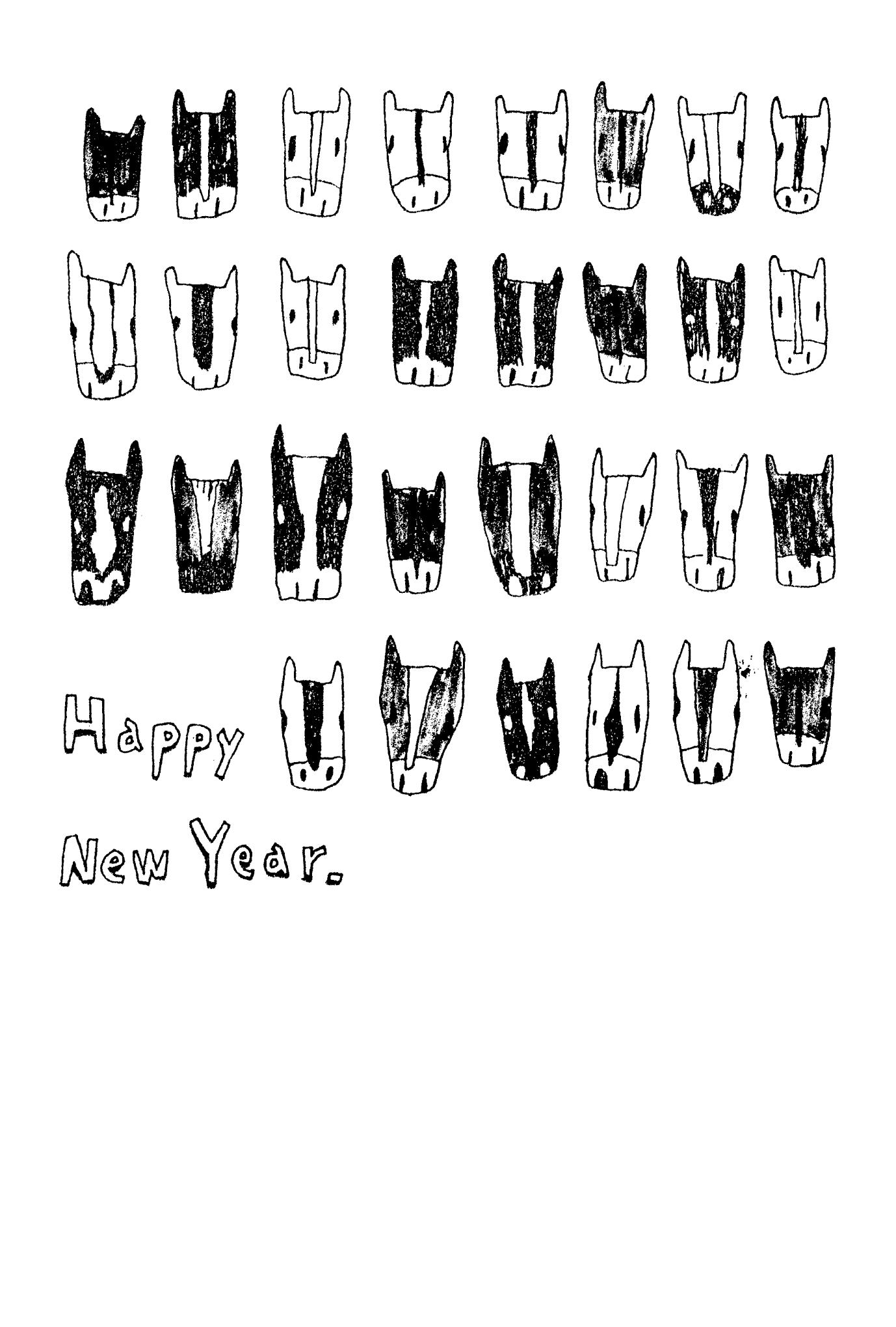 2014年賀状15-4:ウマウマウマ / line drawingのダウンロード画像