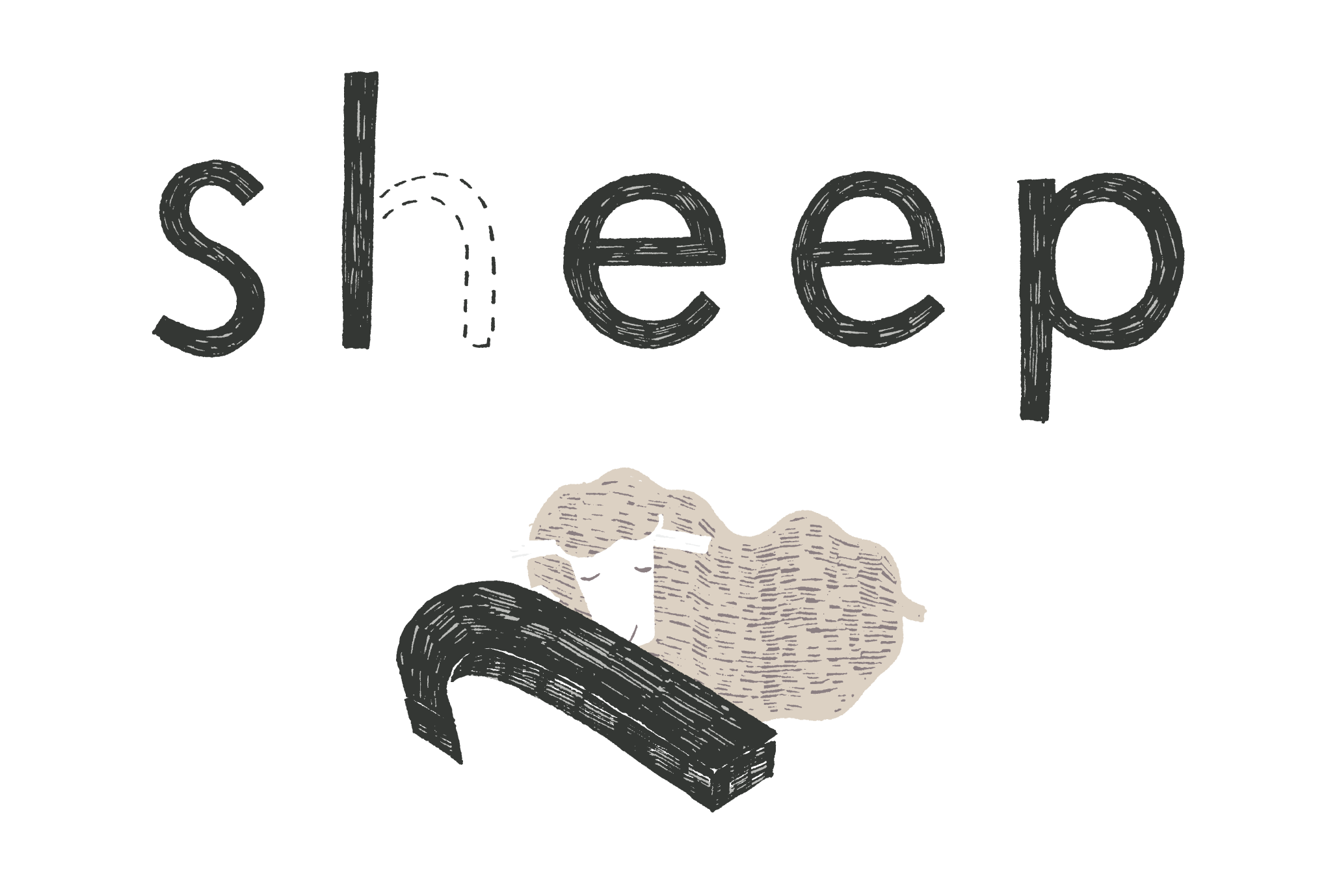2015年賀状16-2:Sheep, Sleep / 横 2のダウンロード画像