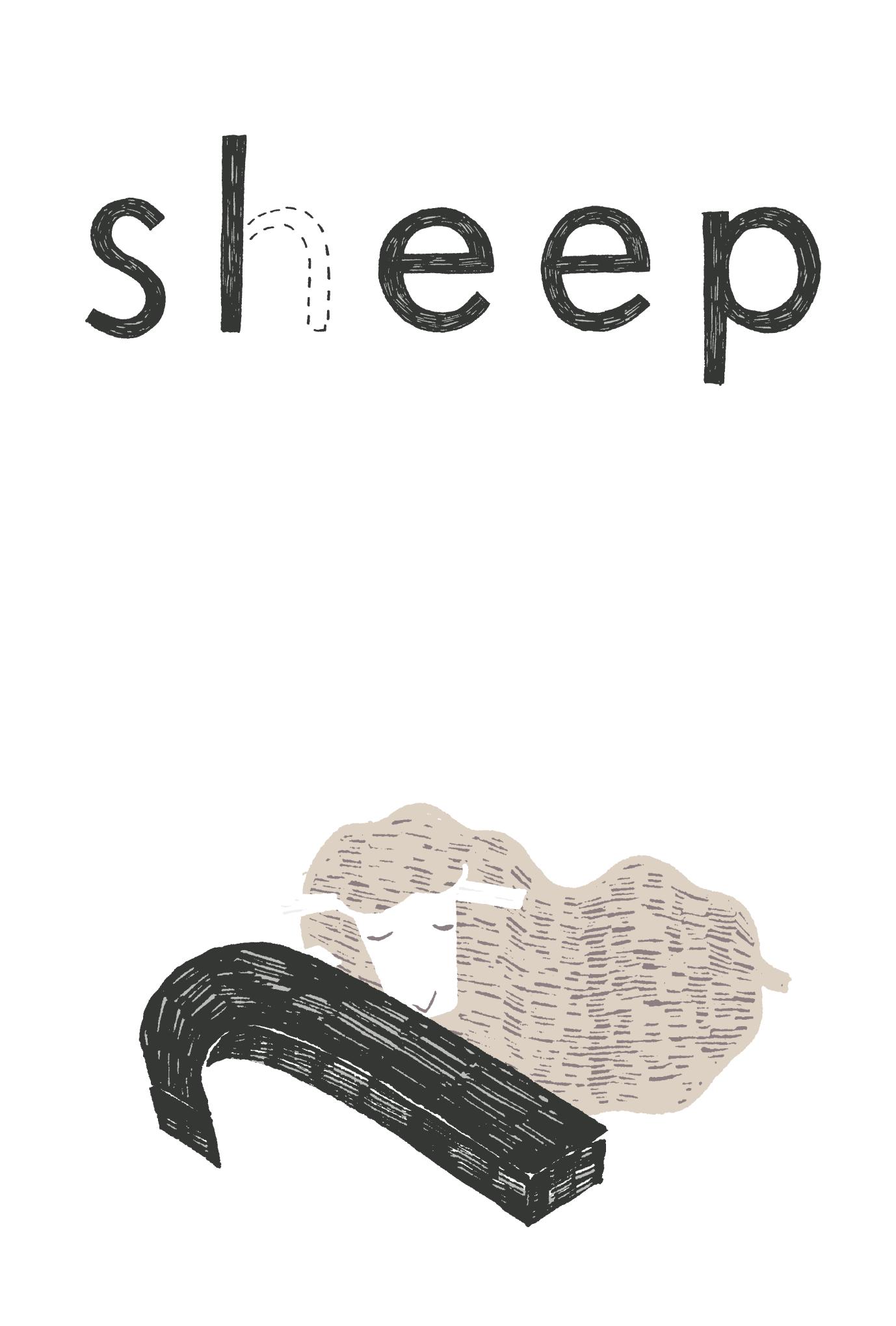 2015年賀状17-2:Sheep, Sleep / 縦 2のダウンロード画像
