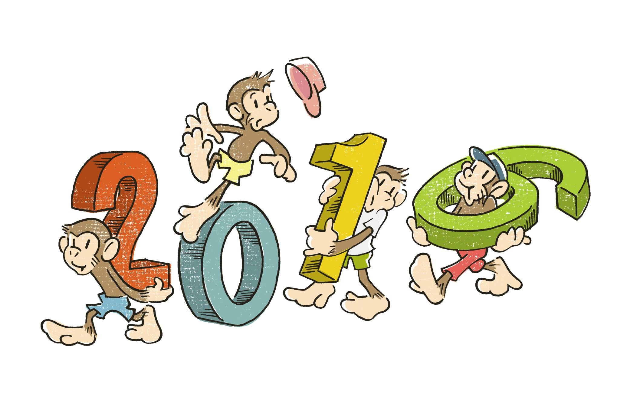 2016年賀状07:Monkey march 2016のダウンロード画像