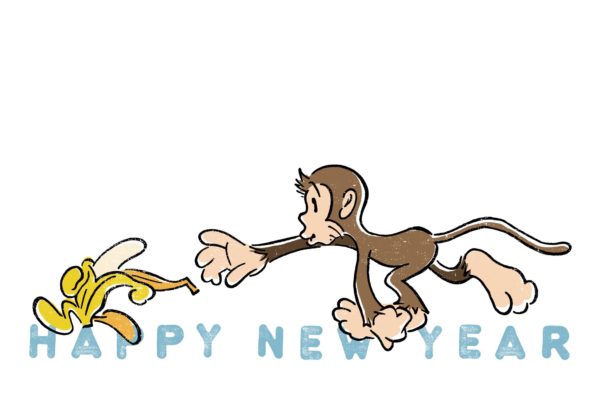 2016年賀状10-1:Banana escape / redraw 1のダウンロード画像