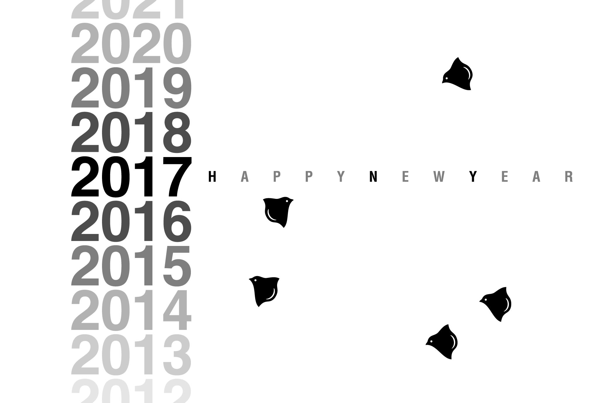 2017年賀状01-3:千鳥 Gradation 2017(黒)のダウンロード画像