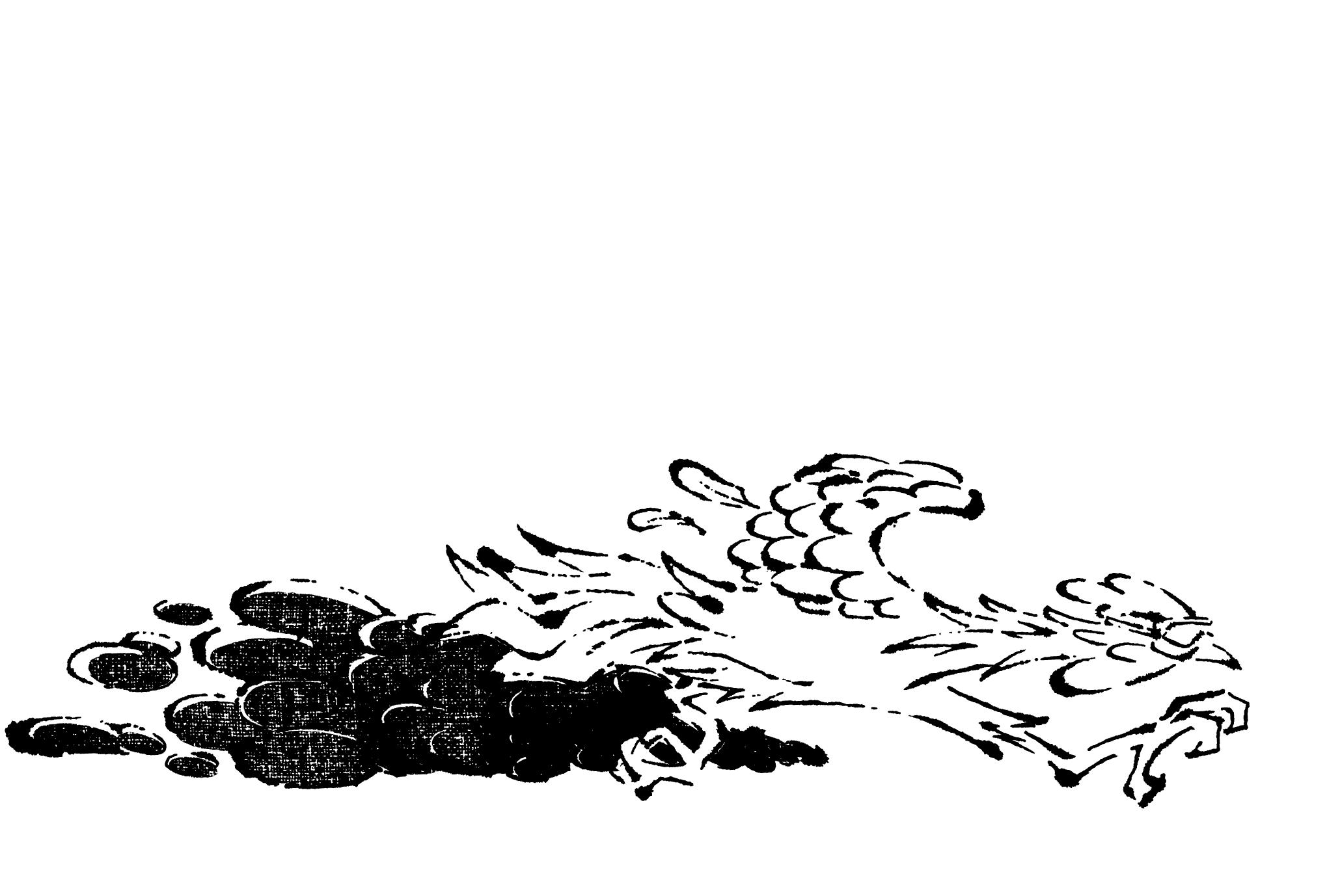 2017年賀状09-3:Running chicken / line drawingのダウンロード画像