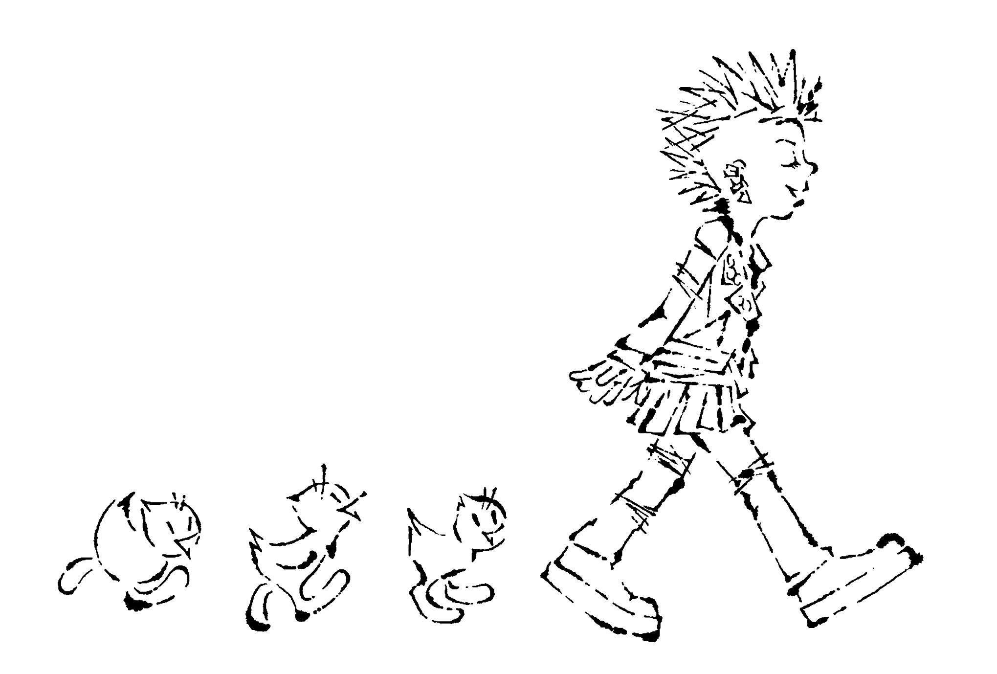 2017年賀状10-2:Chicks march / line drawingのダウンロード画像
