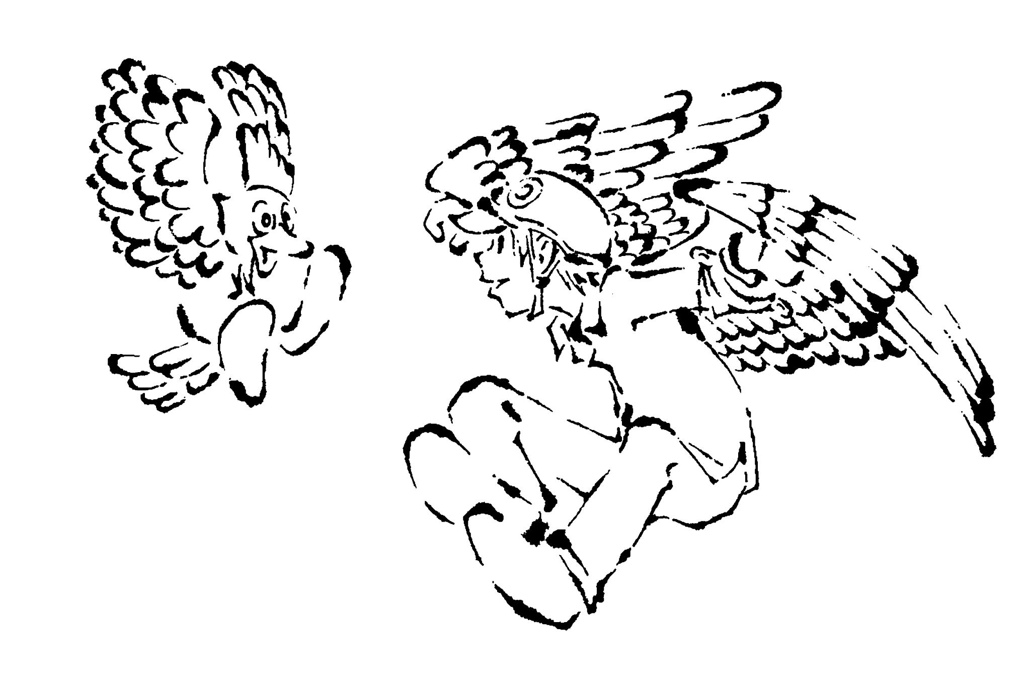 2017年賀状11-3:Flying Bird / line drawingのダウンロード画像