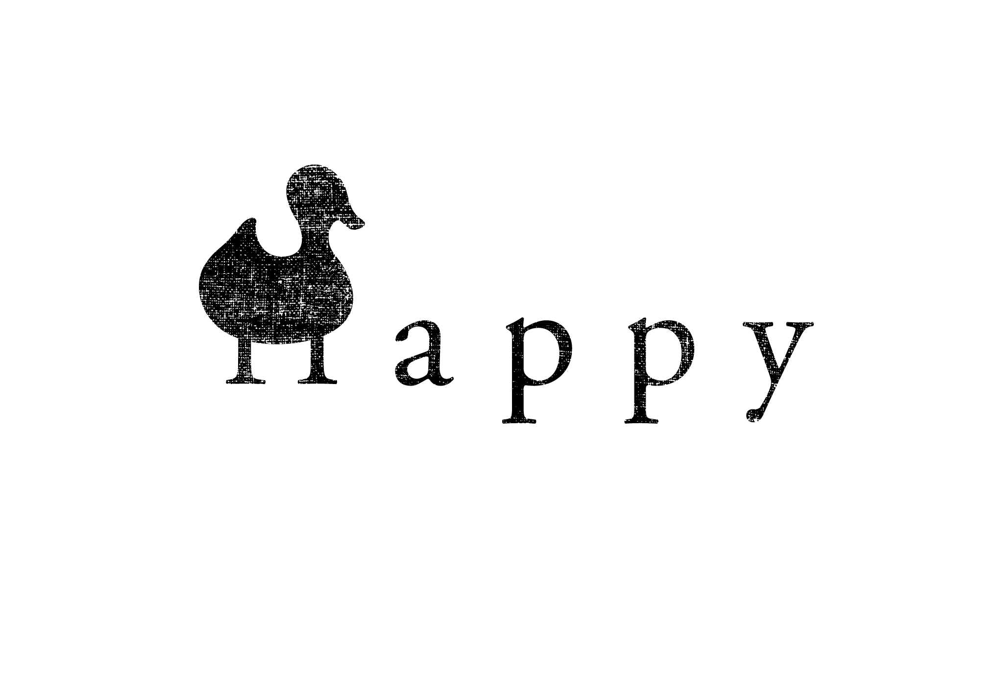 2017年賀状16-1:Happy duck / blackのダウンロード画像