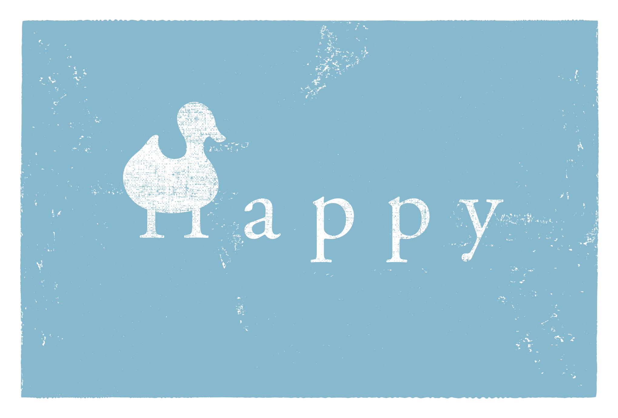 2017年賀状16-2:Happy duck / blueのダウンロード画像