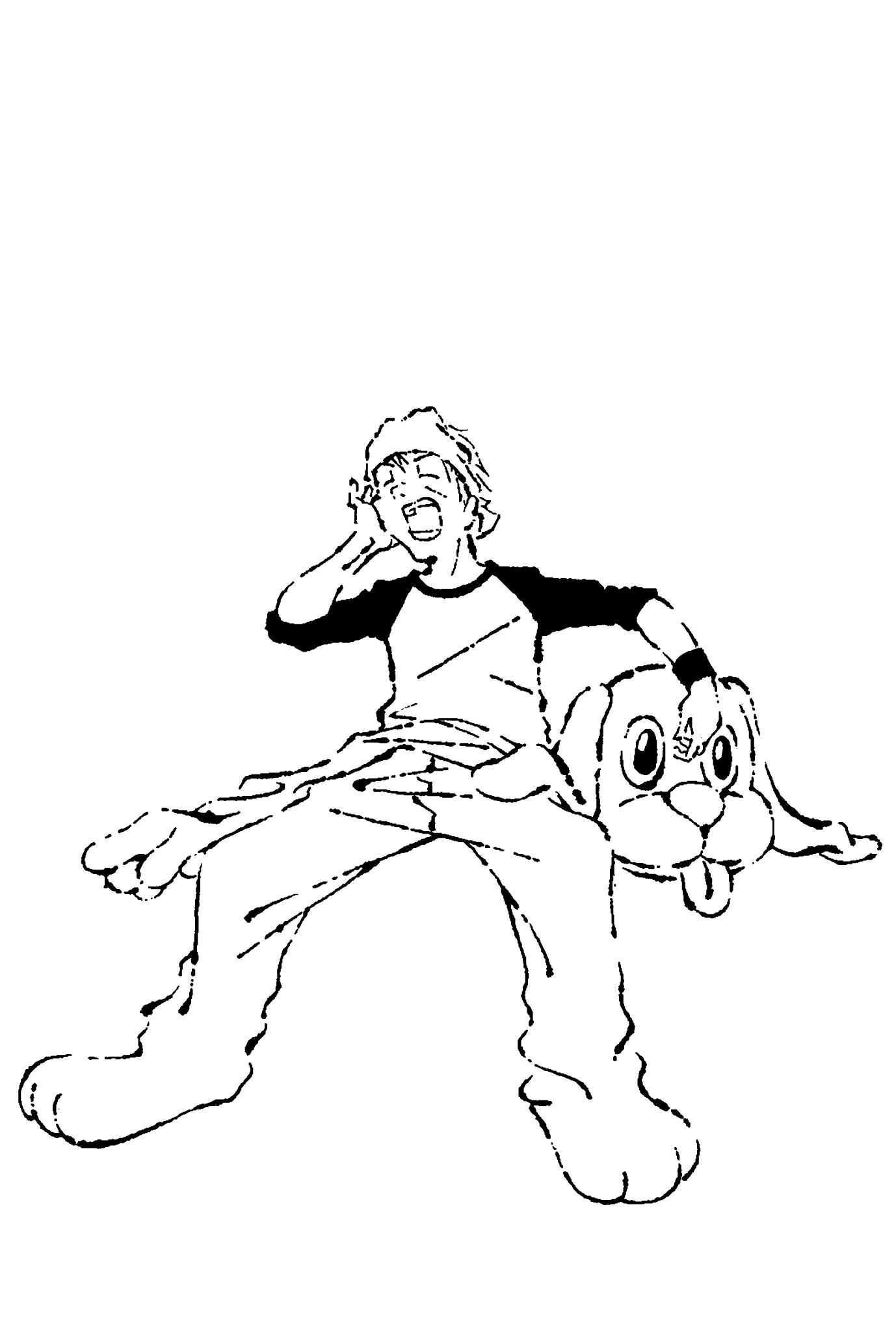 2018年賀状08-3:Work like a dog / line drawingのダウンロード画像
