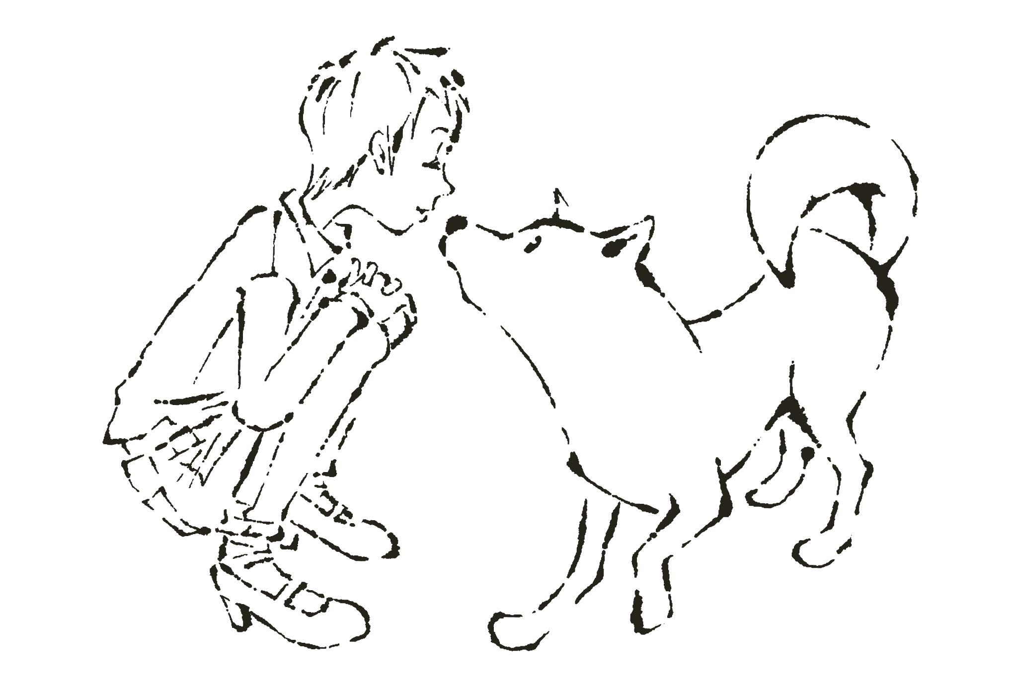 2018年賀状09-3:White dog / line drawingのダウンロード画像