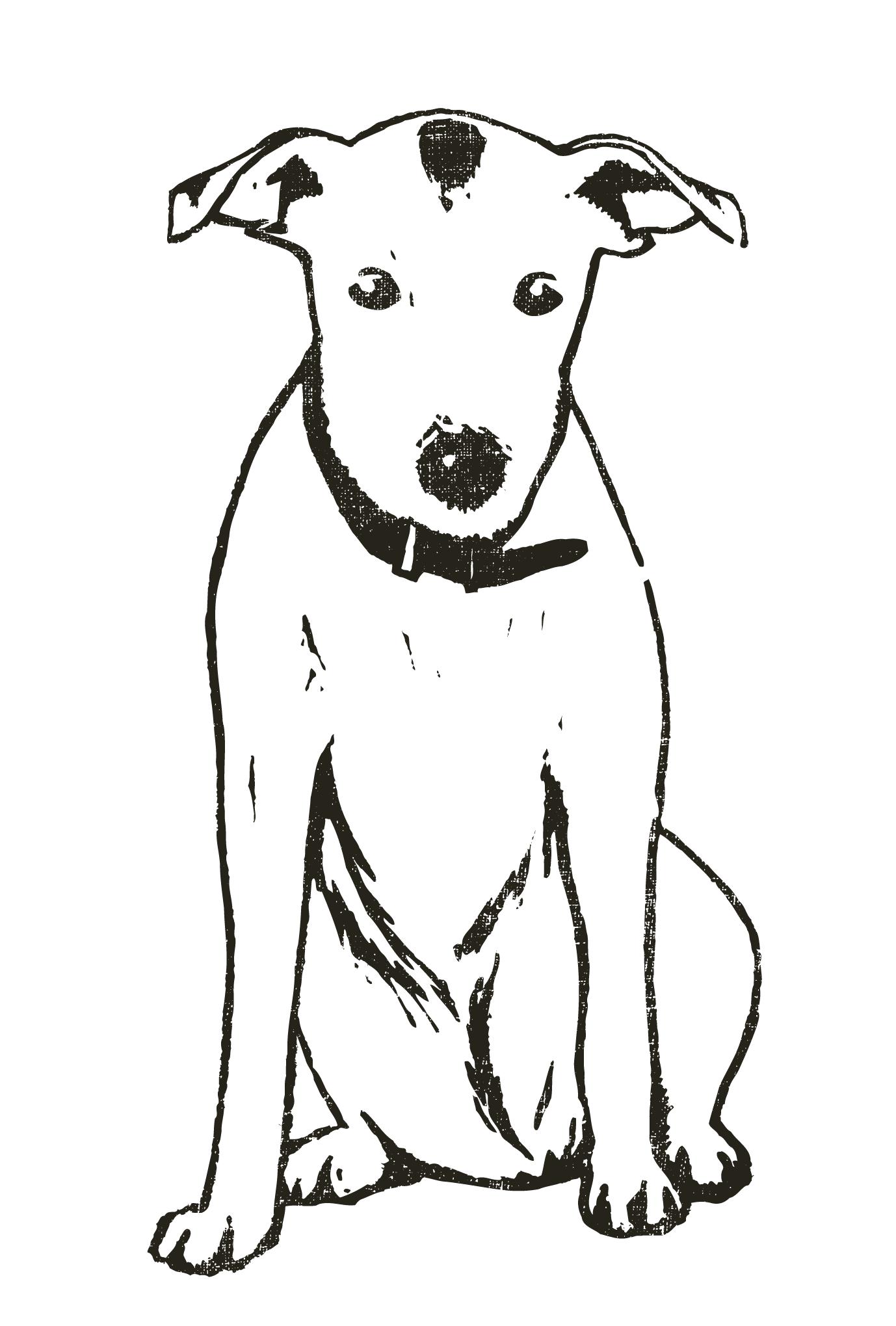 2018年賀状14-1:Dog woodblock print / 1のダウンロード画像