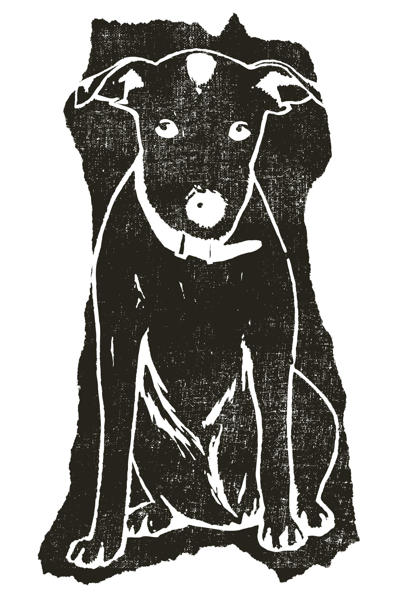 2018年賀状14-2:Dog woodblock print / 2のダウンロード画像