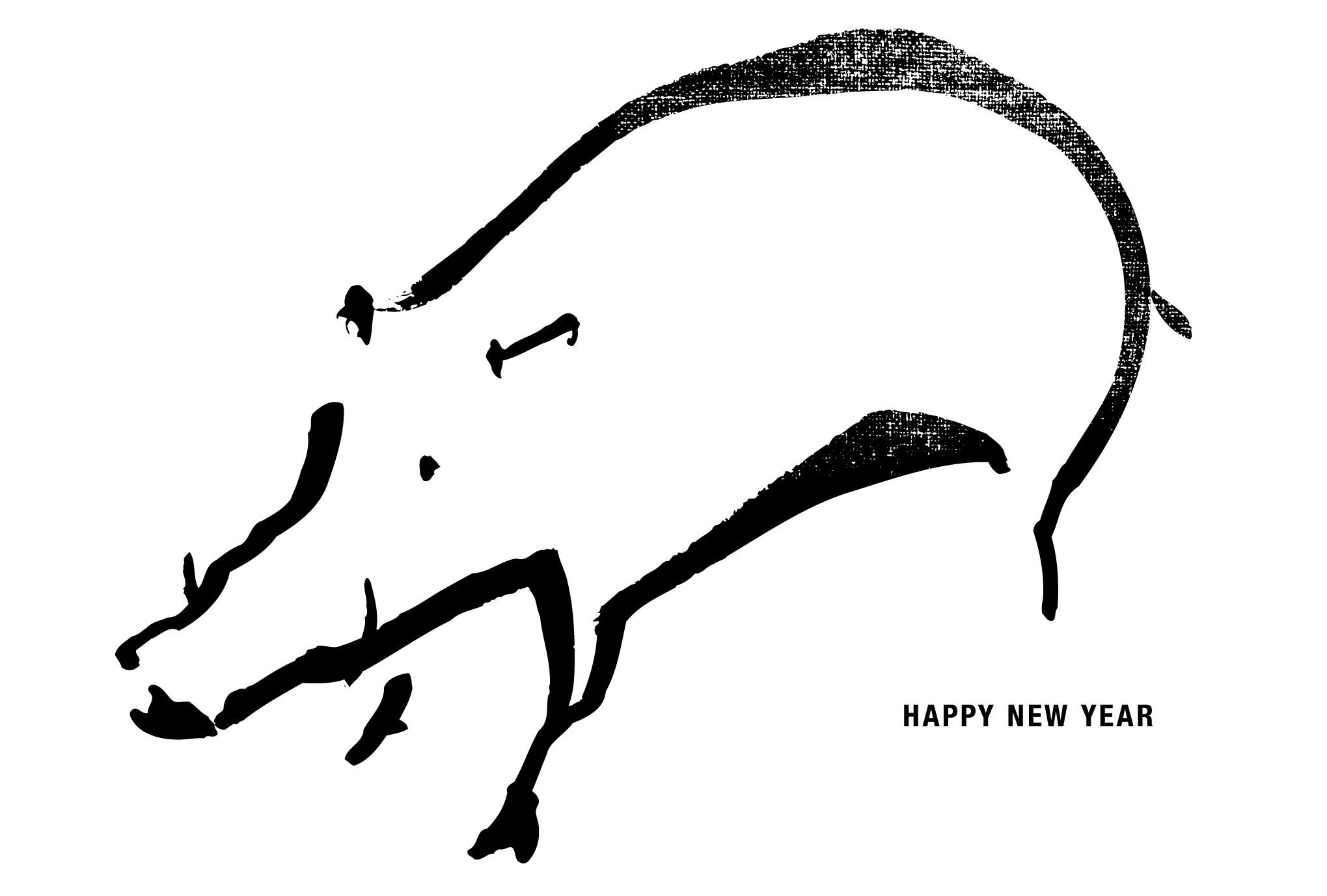 2019年賀状10-2:Wild boar / line drawingのダウンロード画像