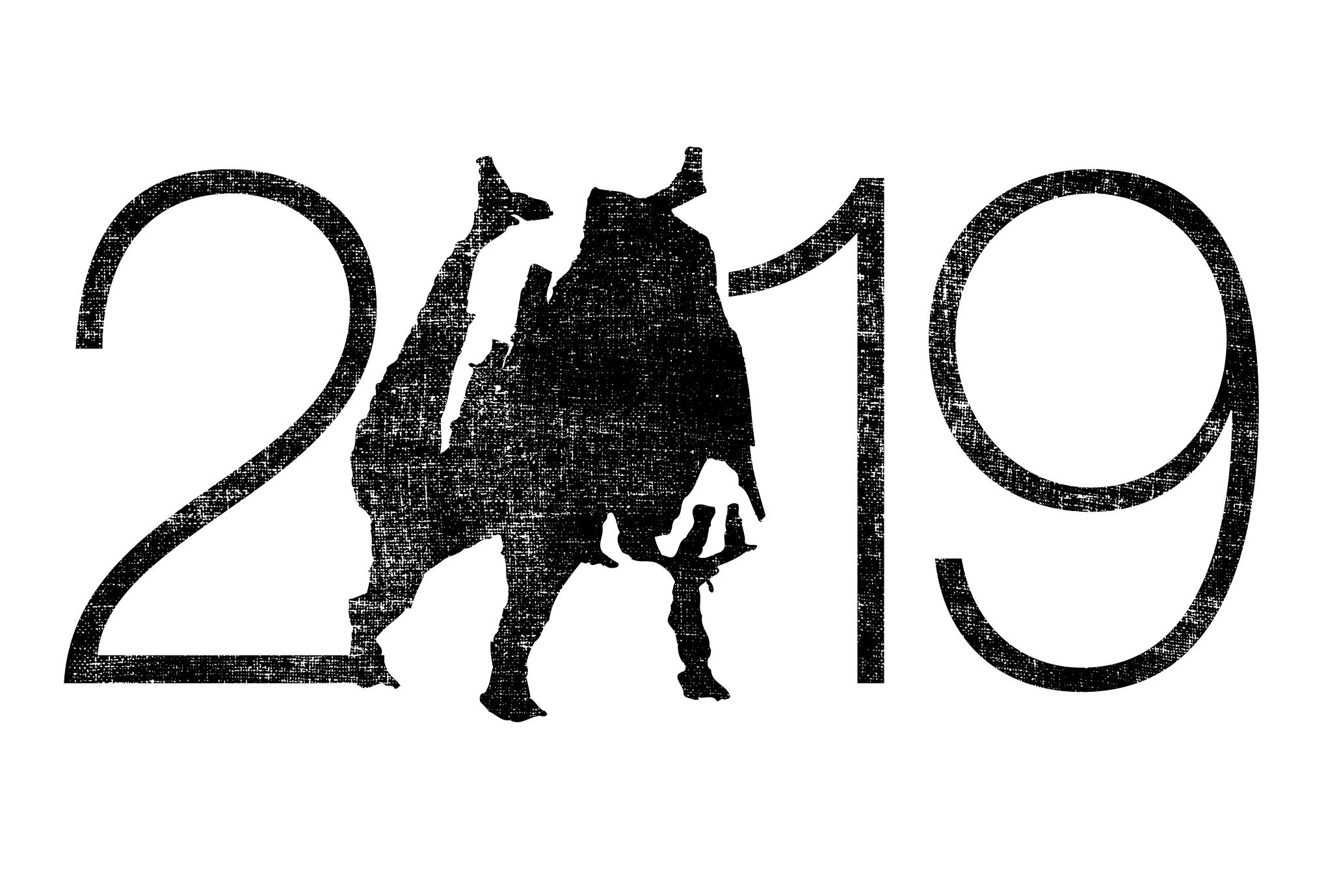 2019年賀状11:Wild boar 2019のダウンロード画像