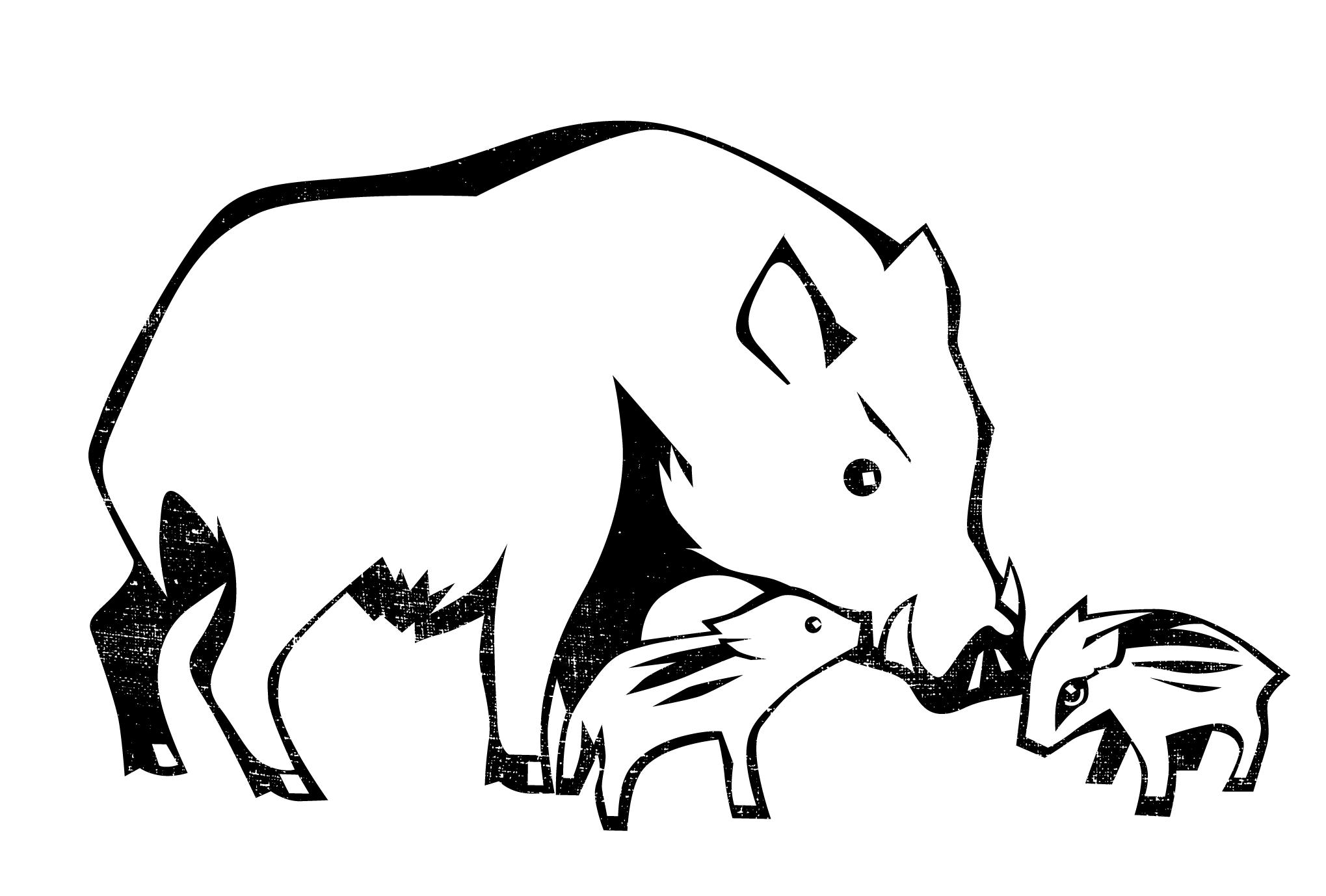 2019年賀状12-2:うりぼう / line drawingのダウンロード画像