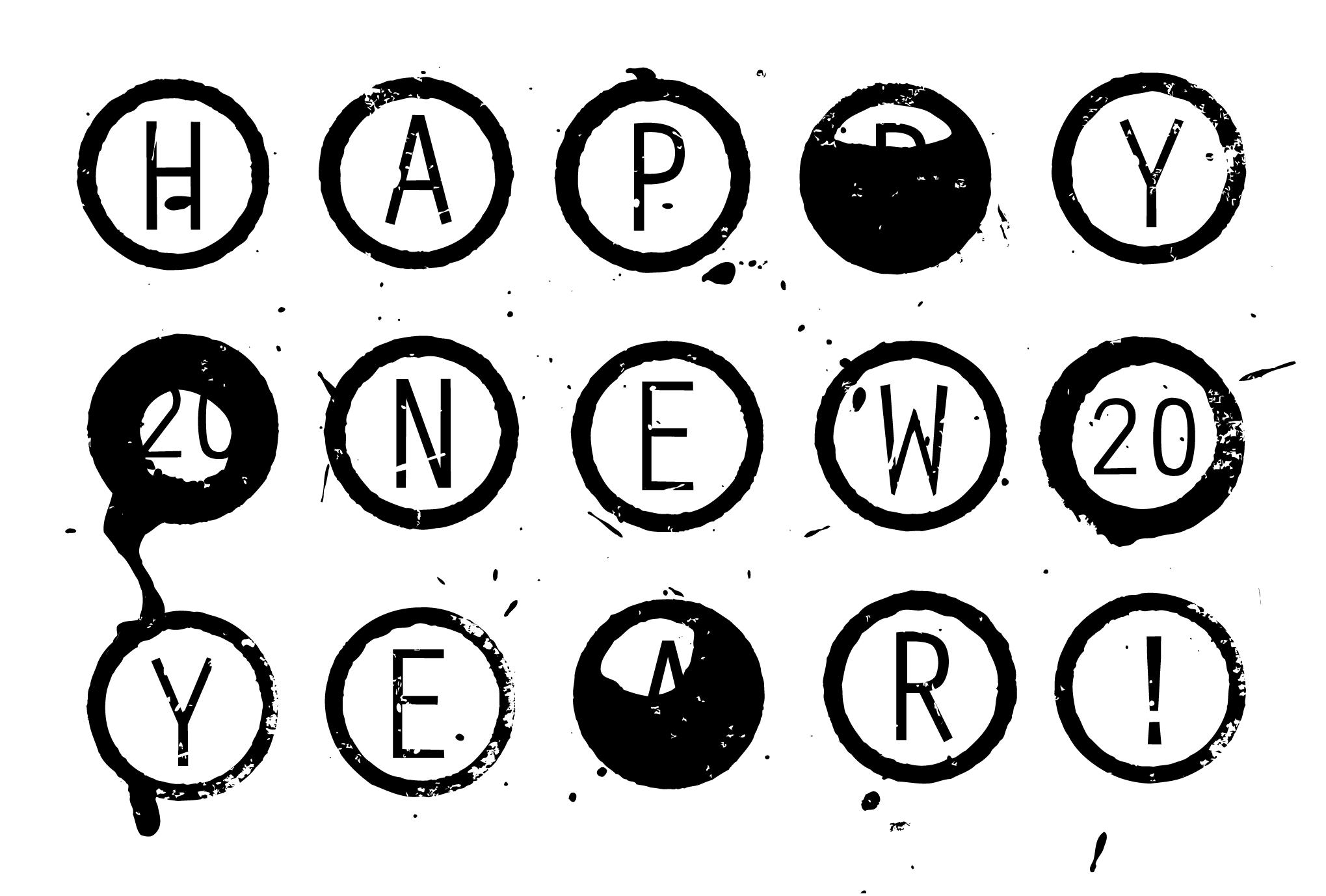 2020年賀状03-1:Circle 2020 / 黒のダウンロード画像