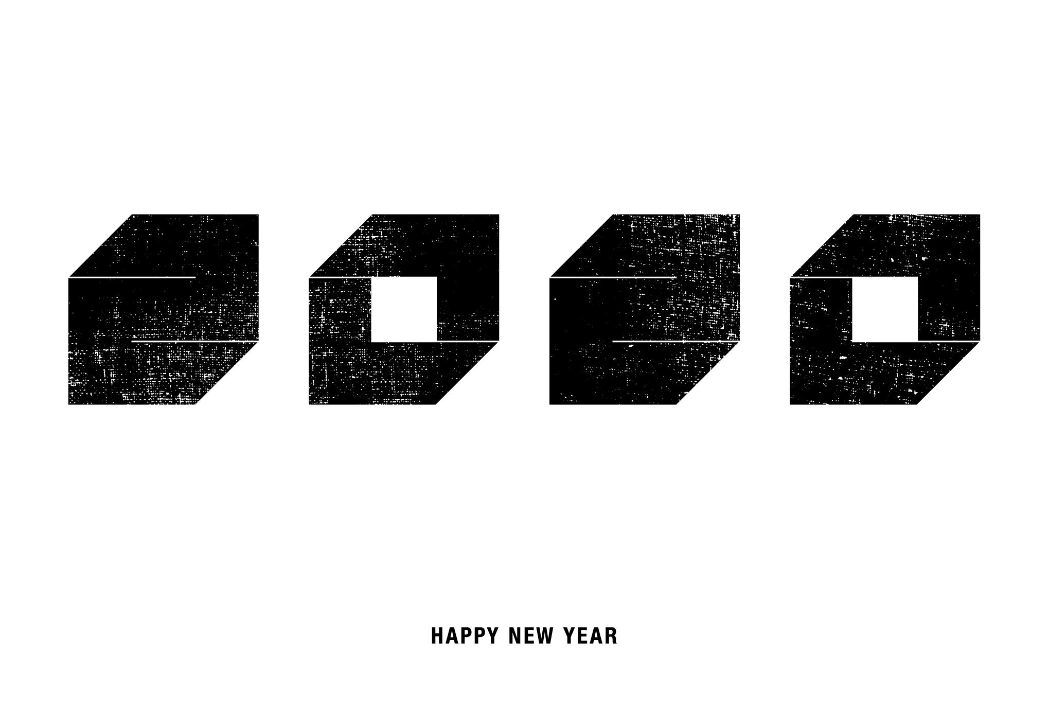 2020年賀状05-1:Square 2020 / 黒のダウンロード画像
