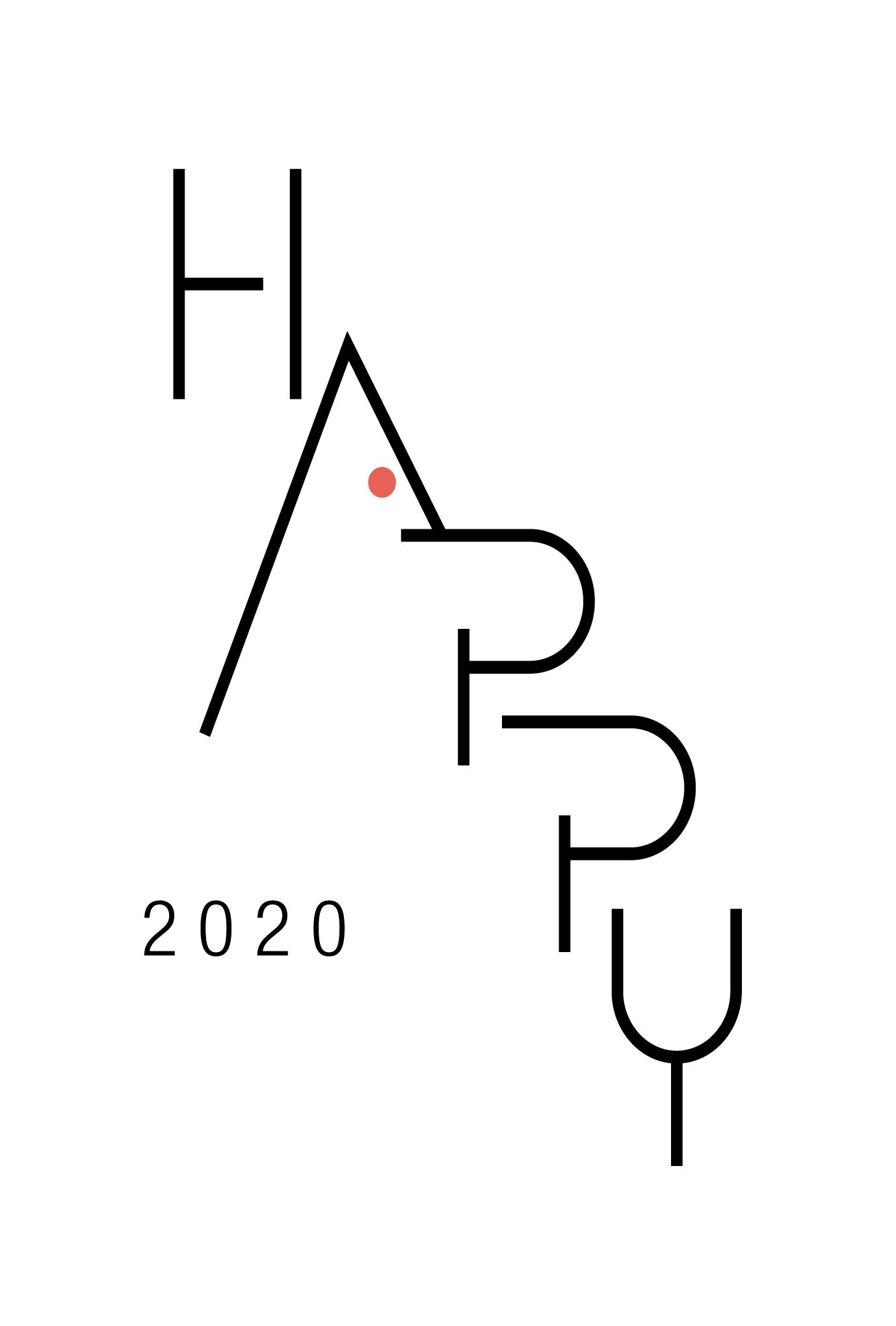 2020年賀状14-1:HAPPY MOUSE / Aのダウンロード画像