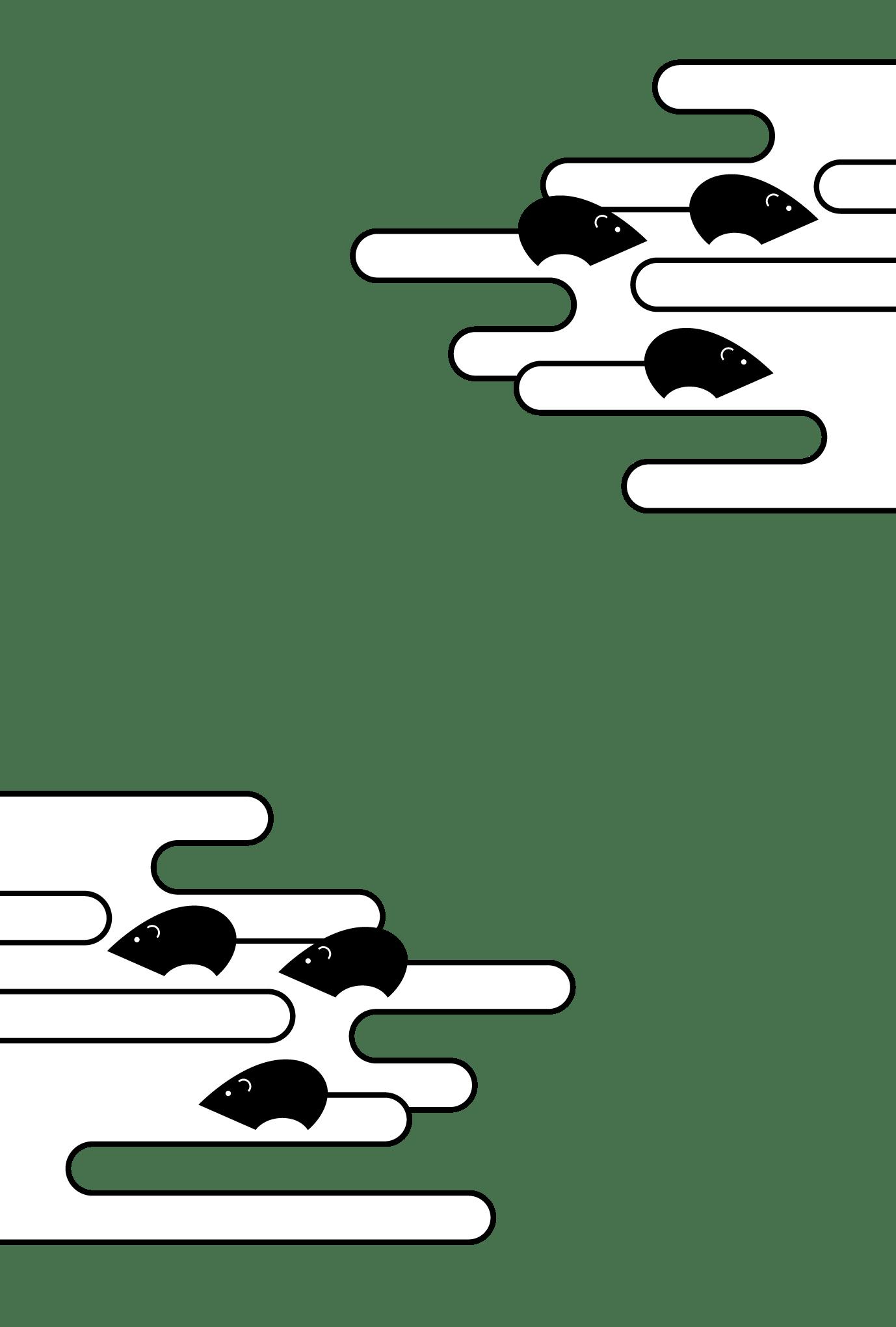 2020年賀状19-1:ネズミクラウド(透過)黒のダウンロード画像