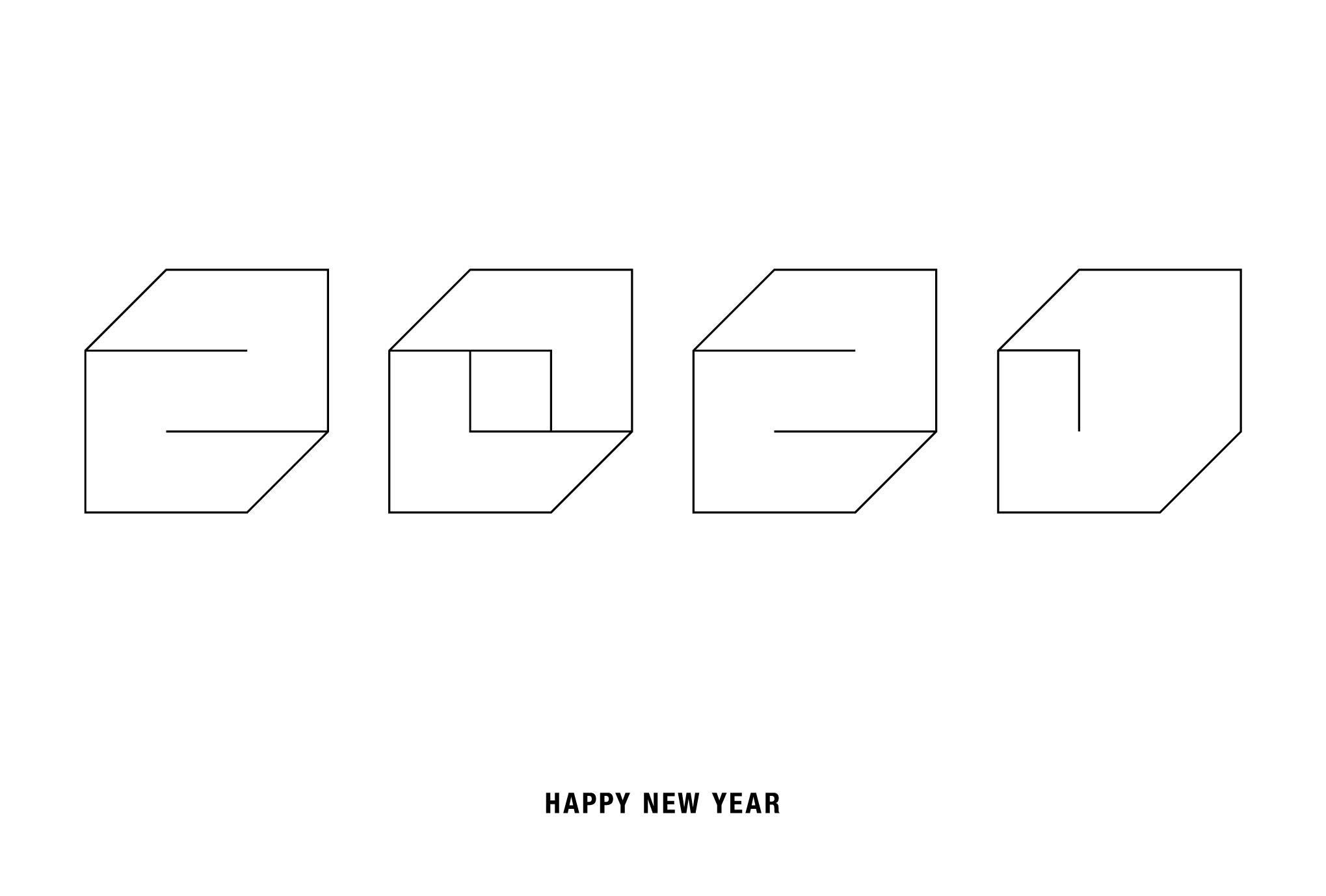 2021年賀状05-4:Square 2021 / 線のダウンロード画像