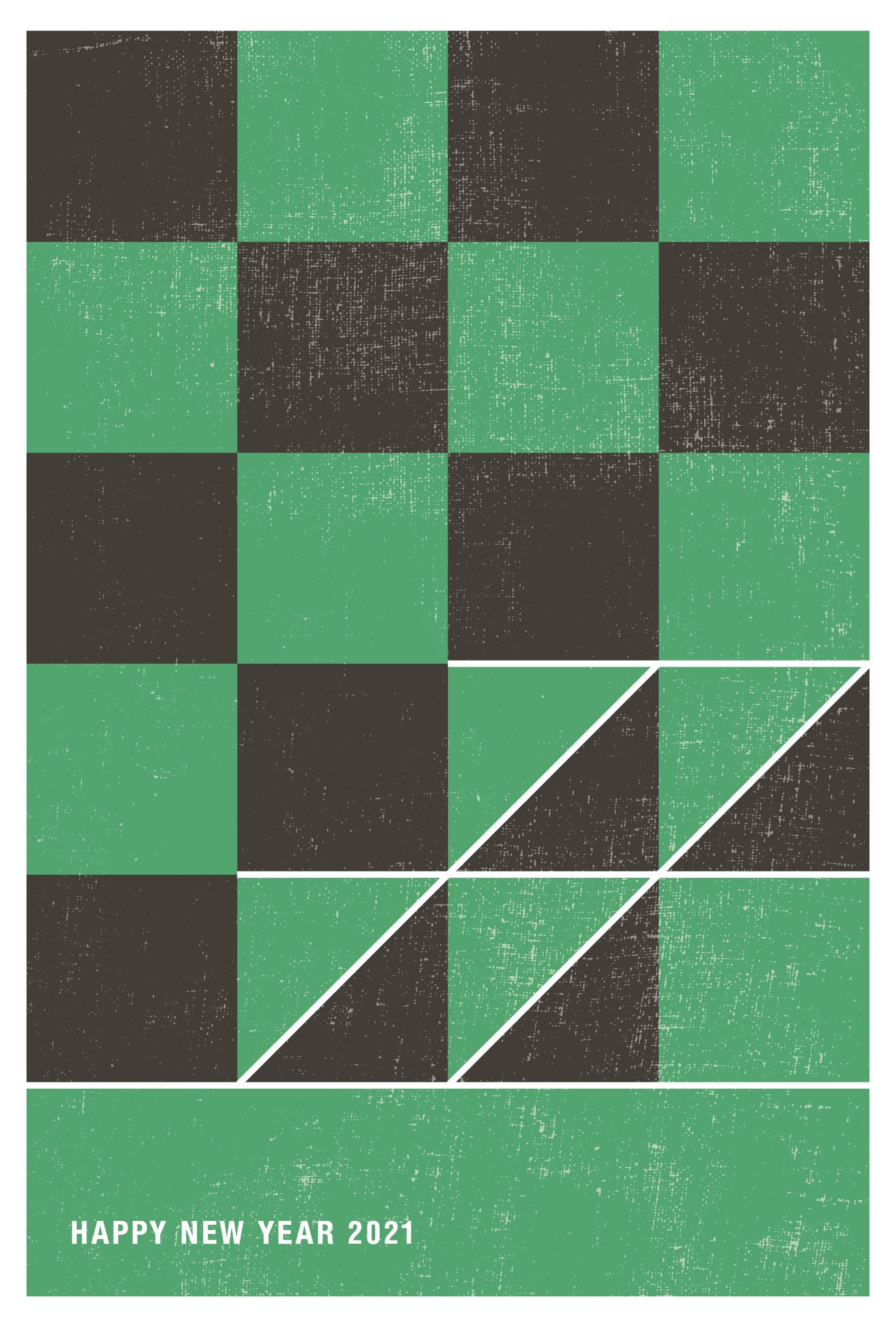 2021年賀状06-1:丑と市松模様 / 縦のダウンロード画像