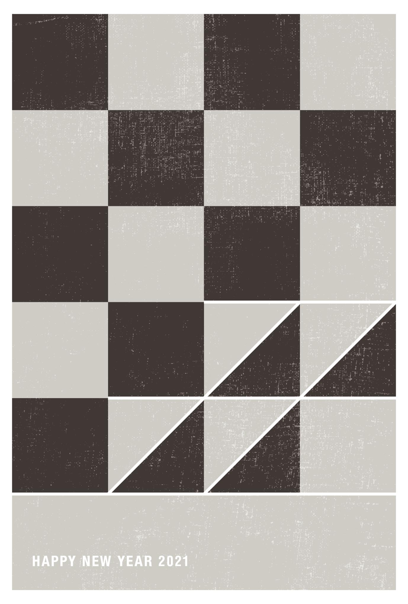 2021年賀状06-2:丑と市松模様(薄鈍)縦のダウンロード画像