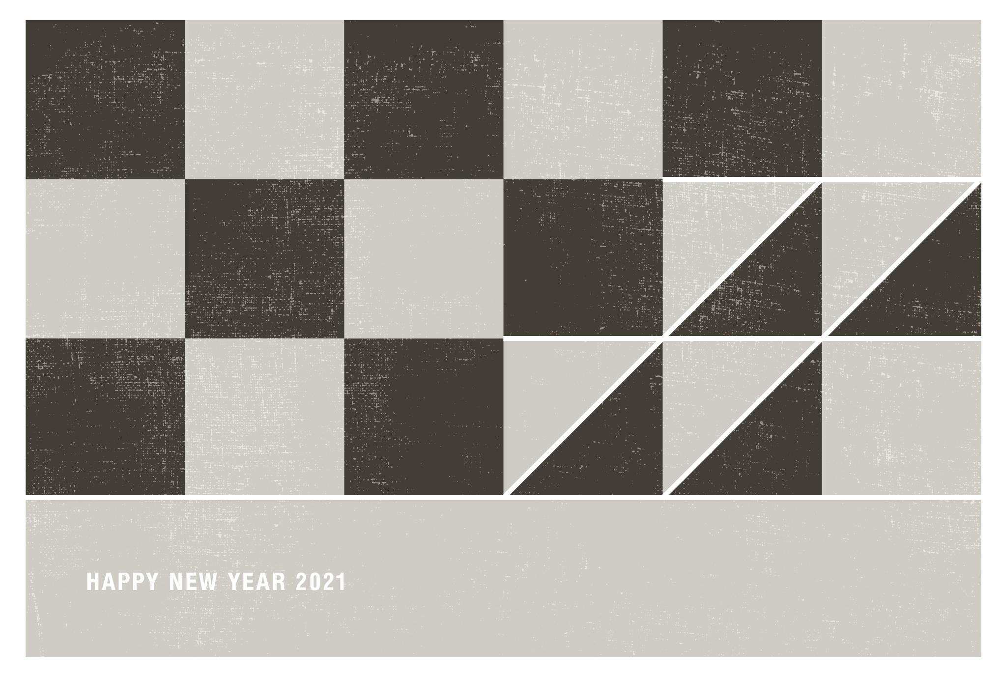 2021年賀状06-4:丑と市松模様(薄鈍)横のダウンロード画像