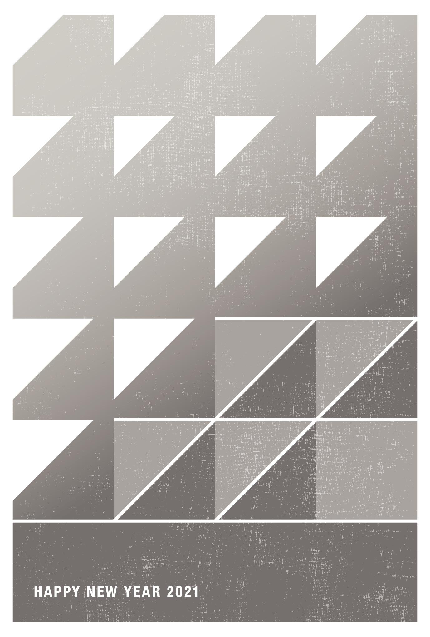2021年賀状07-2:丑と鱗文様(薄鈍)縦のダウンロード画像