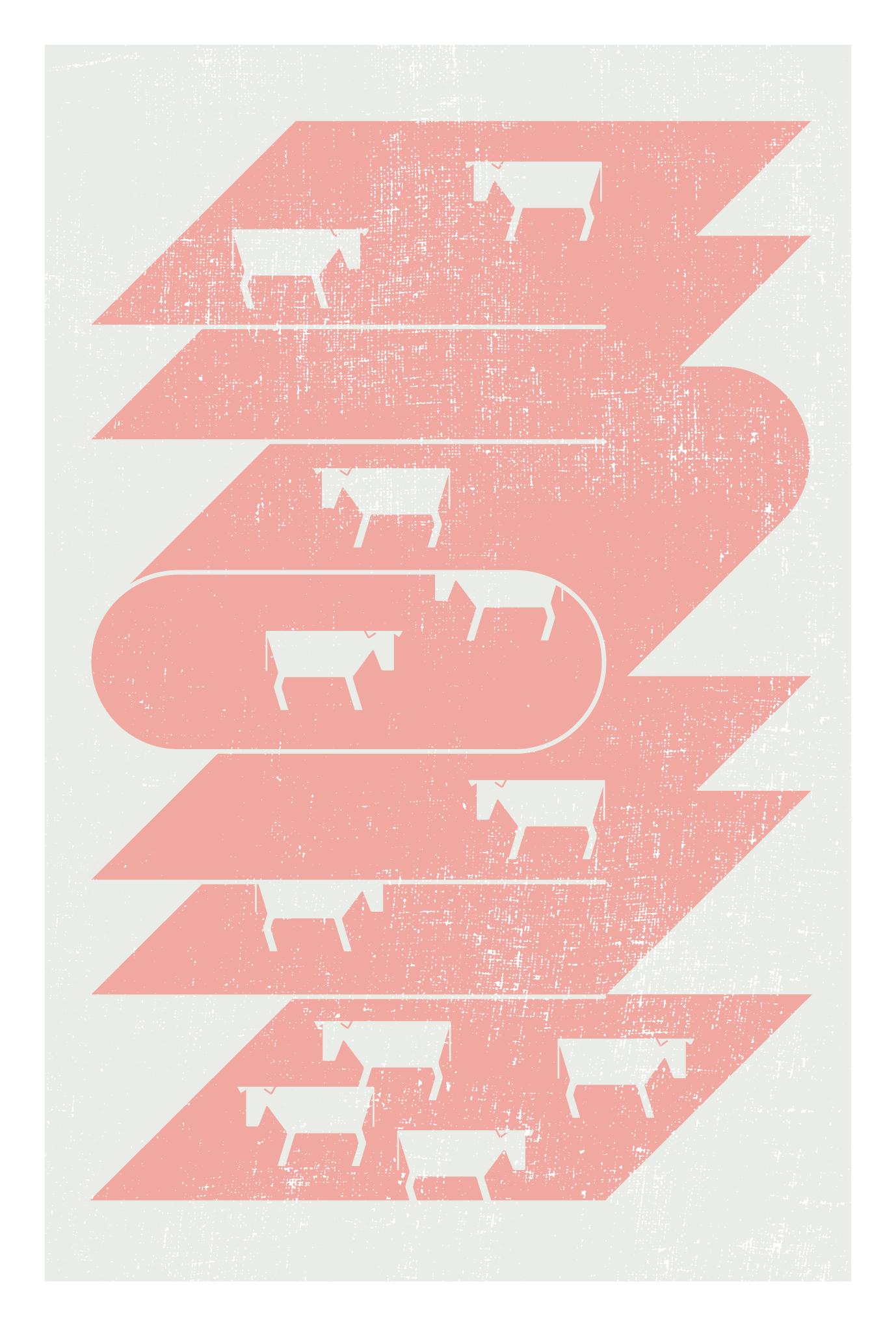 2021年賀状20-1:二〇二一と牛(紅梅色)のダウンロード画像