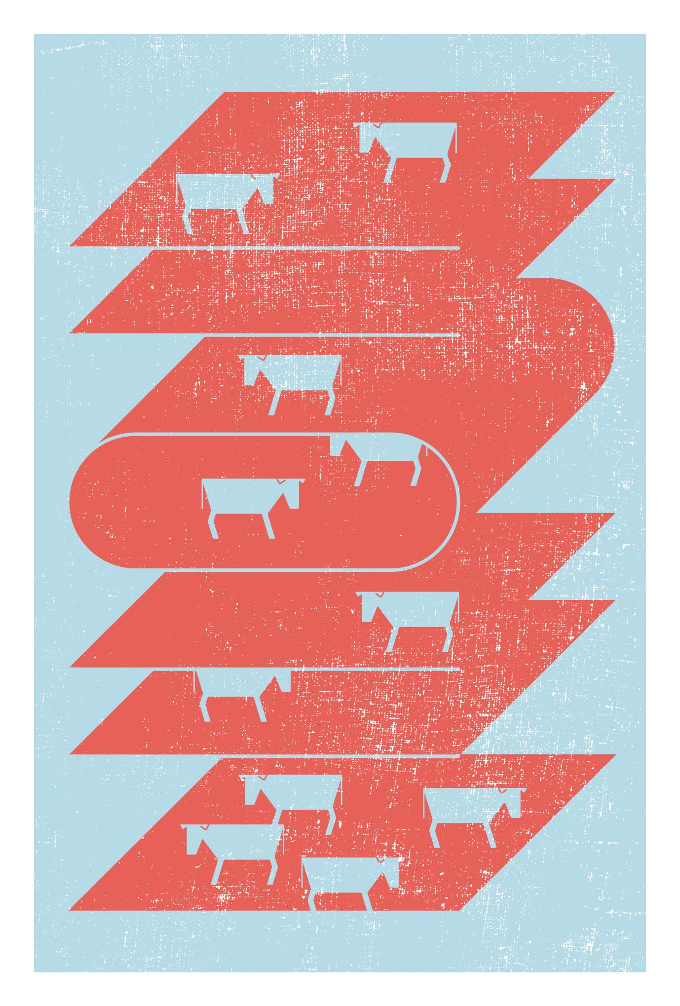 2021年賀状20-2:二〇二一と牛(緋色)のダウンロード画像