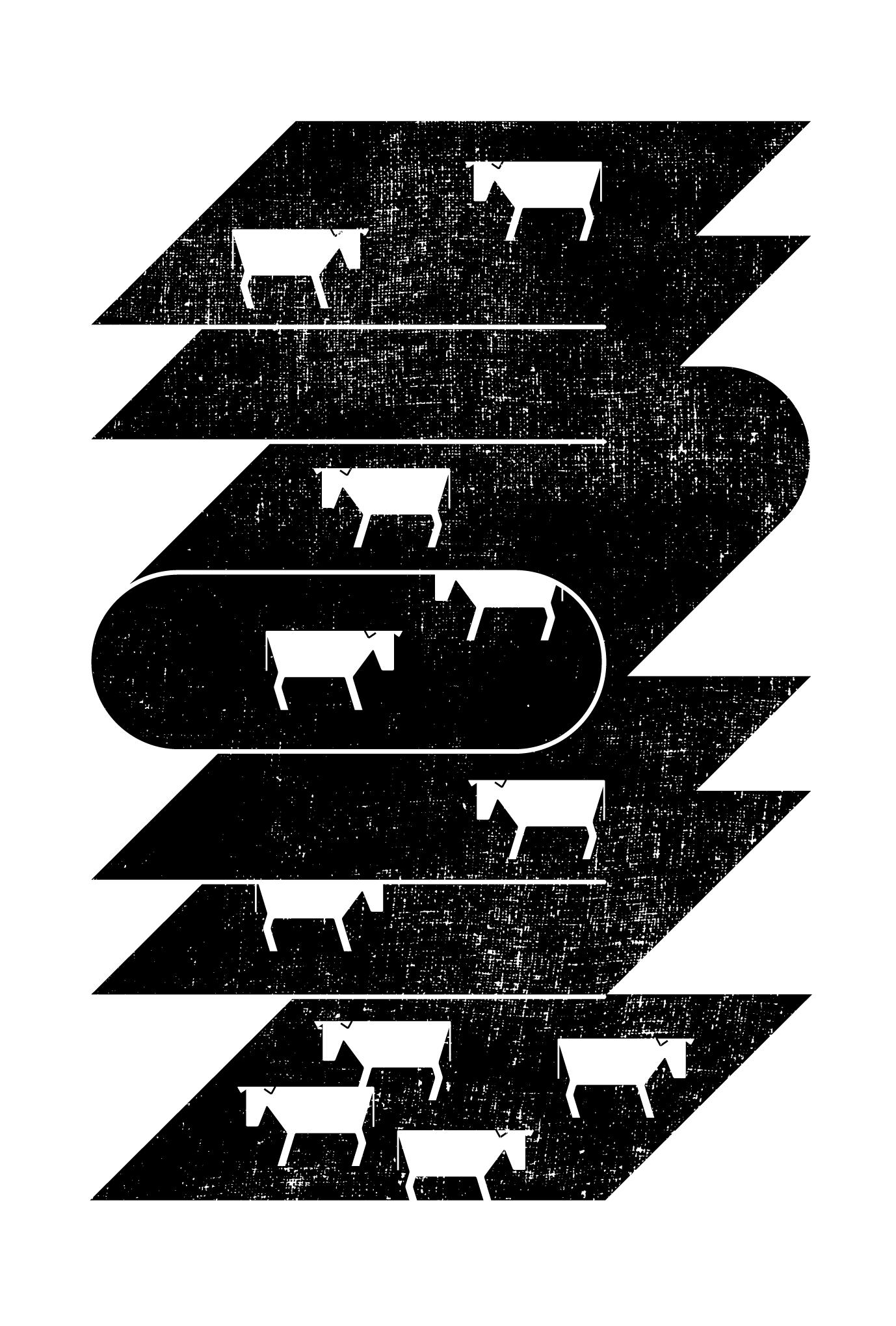 2021年賀状20-3:二〇二一と牛(黒)のダウンロード画像