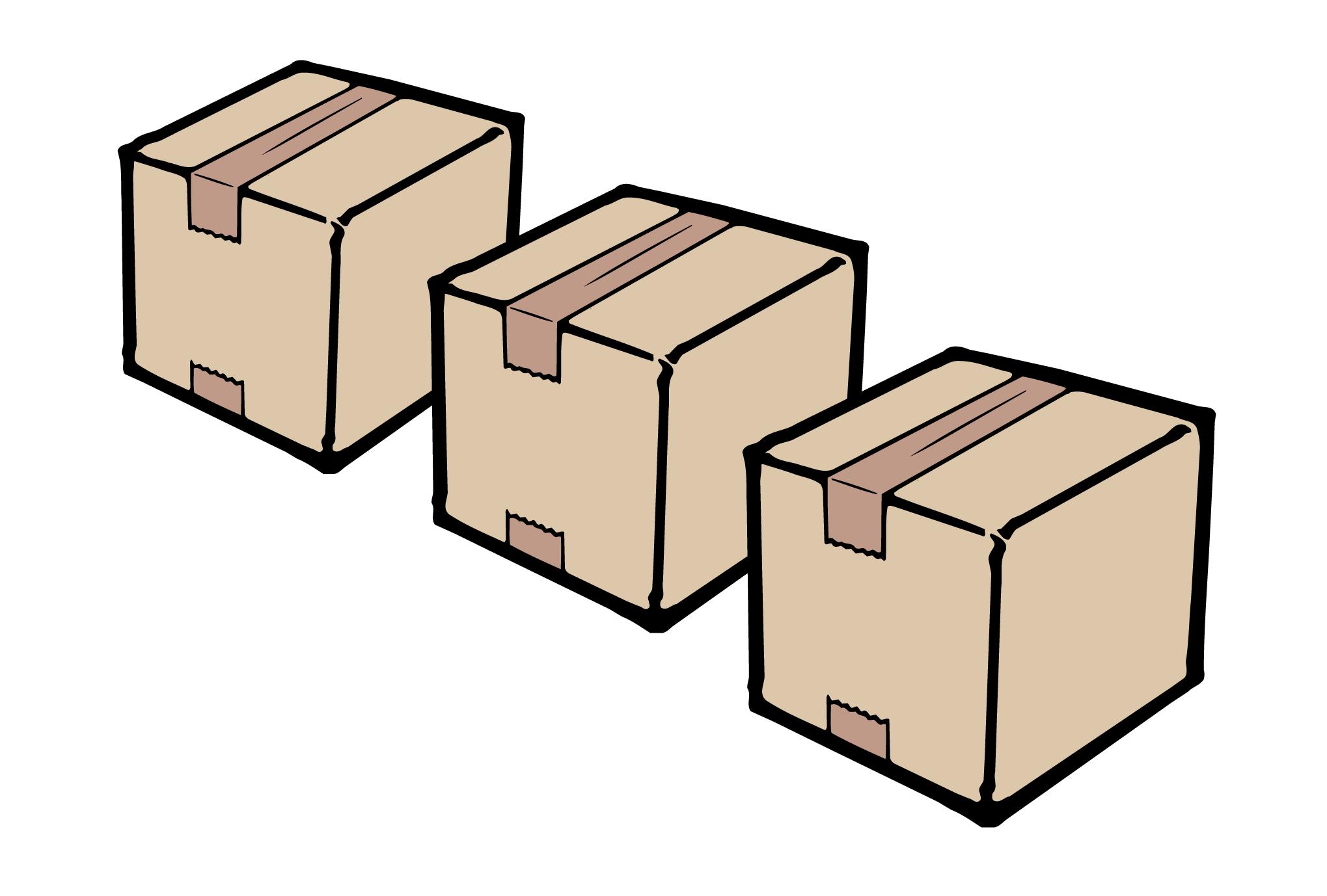 引越しハガキ04:並ぶダンボールのダウンロード画像