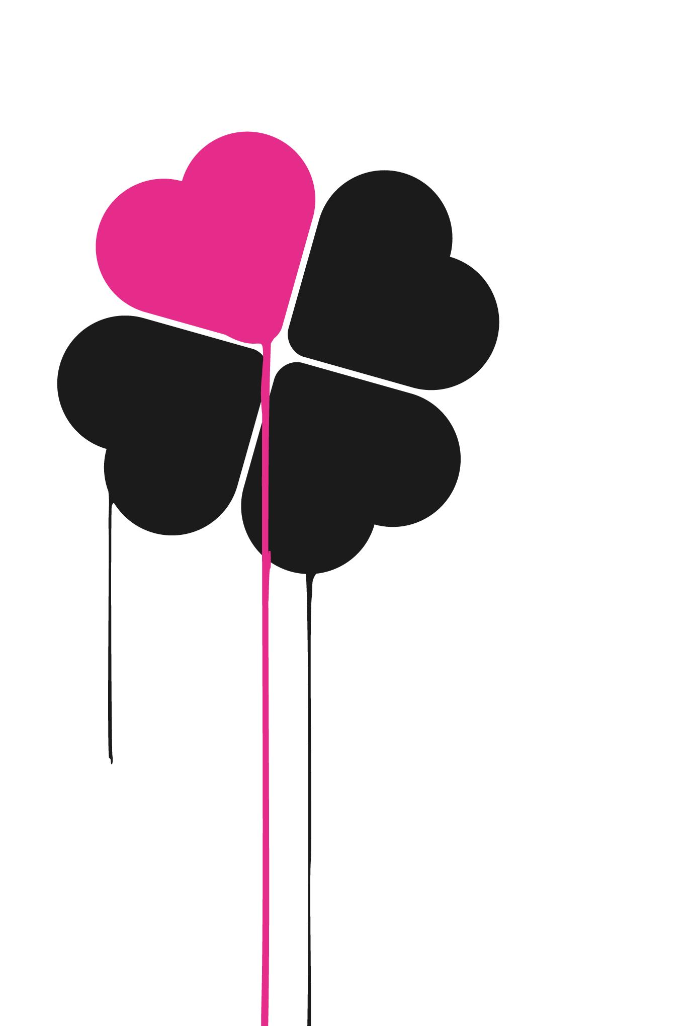 ポストカード06:Pink heart cloverのダウンロード画像