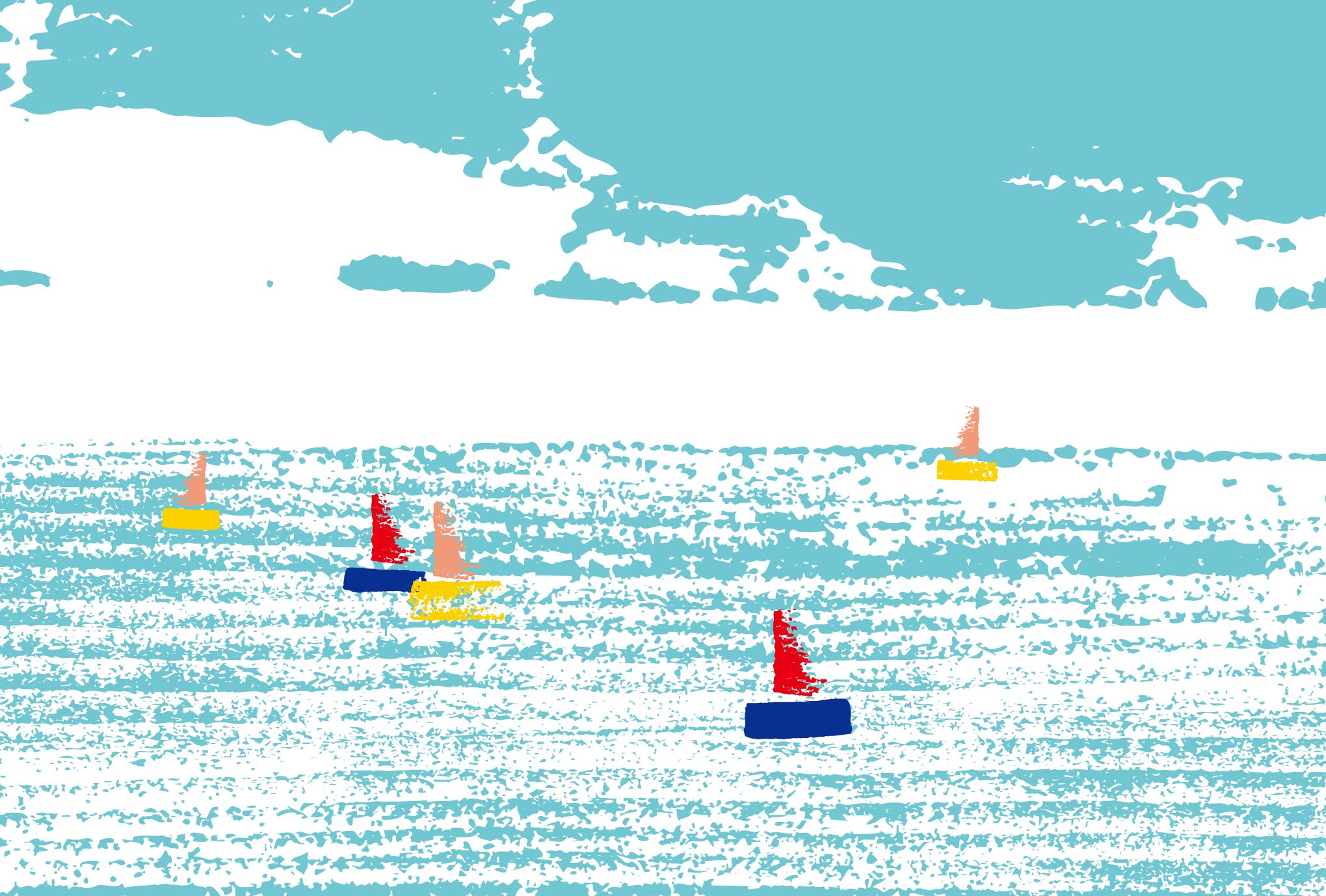 サマーカード30:海とヨットのダウンロード画像